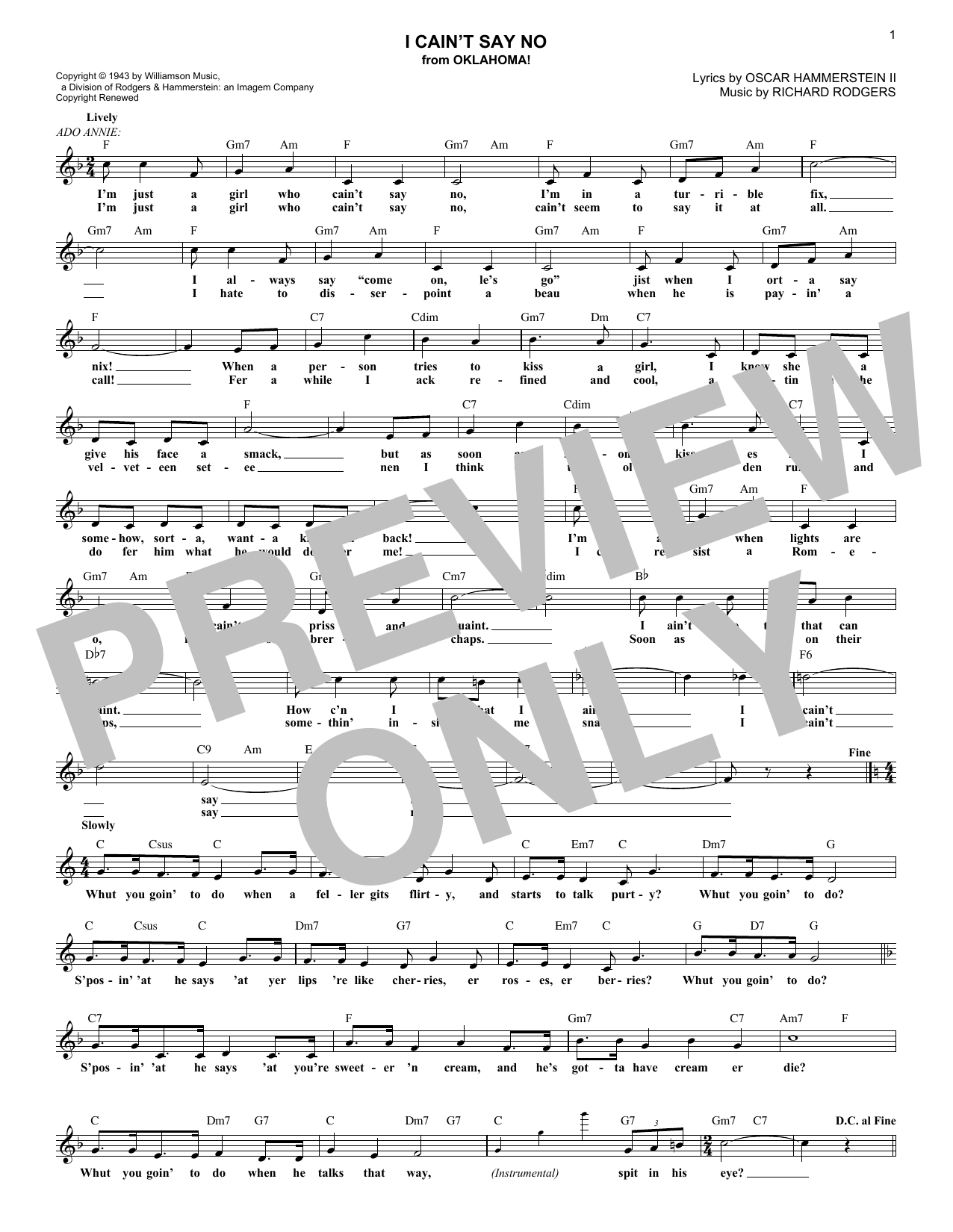 I Cain't Say No (from Oklahoma!) (Lead Sheet / Fake Book)