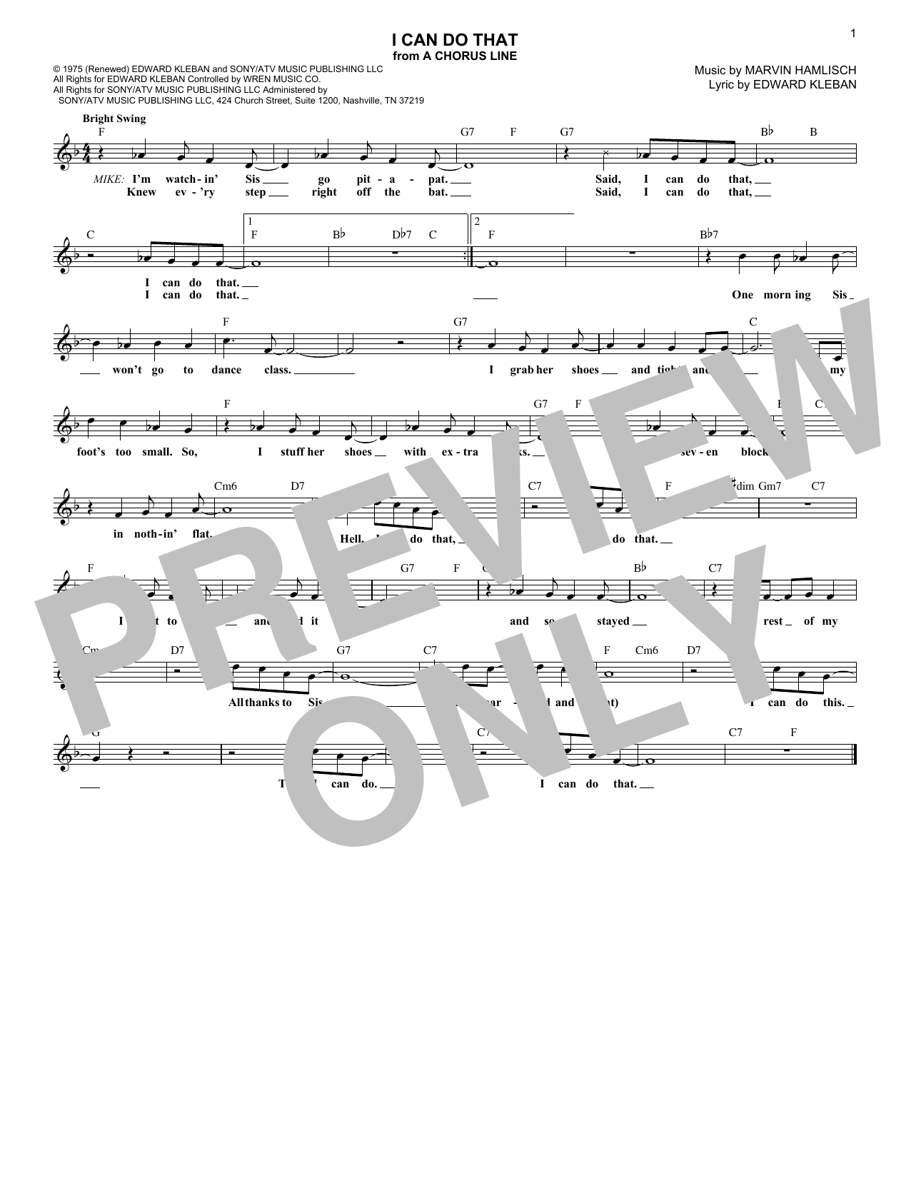 I Can Do That (Lead Sheet / Fake Book)