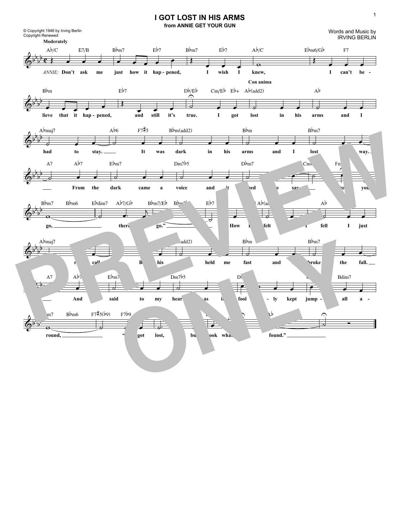 I Got Lost In His Arms (Lead Sheet / Fake Book)