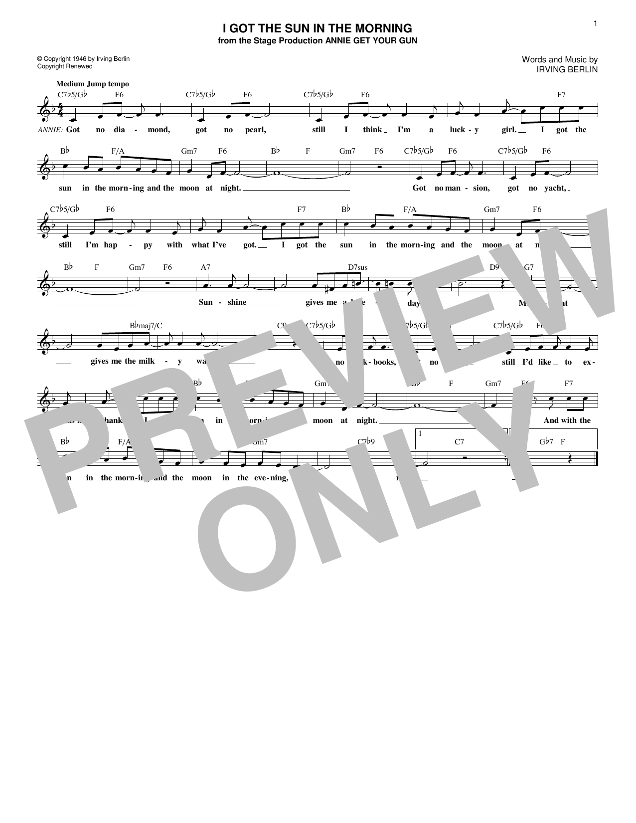 I Got The Sun In The Morning (Lead Sheet / Fake Book)