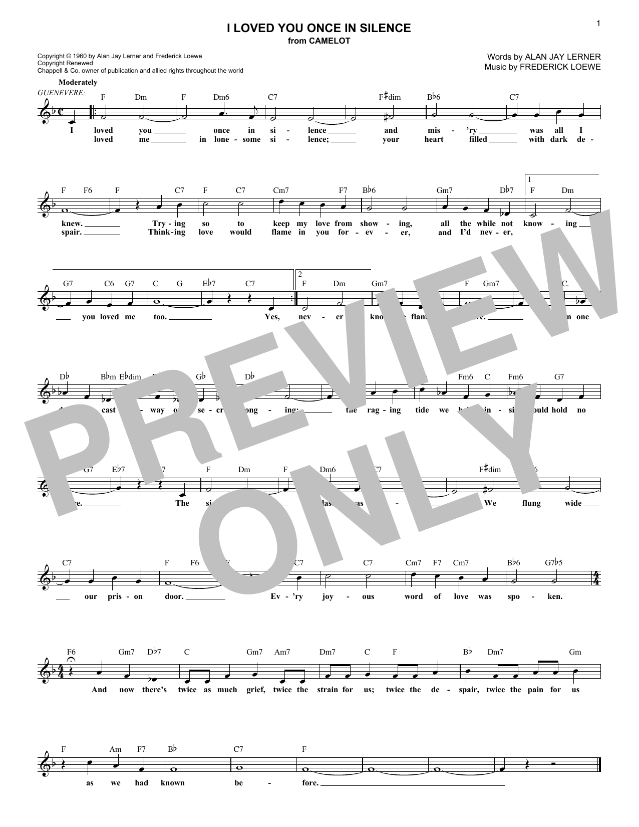 I Loved You Once In Silence (Lead Sheet / Fake Book)