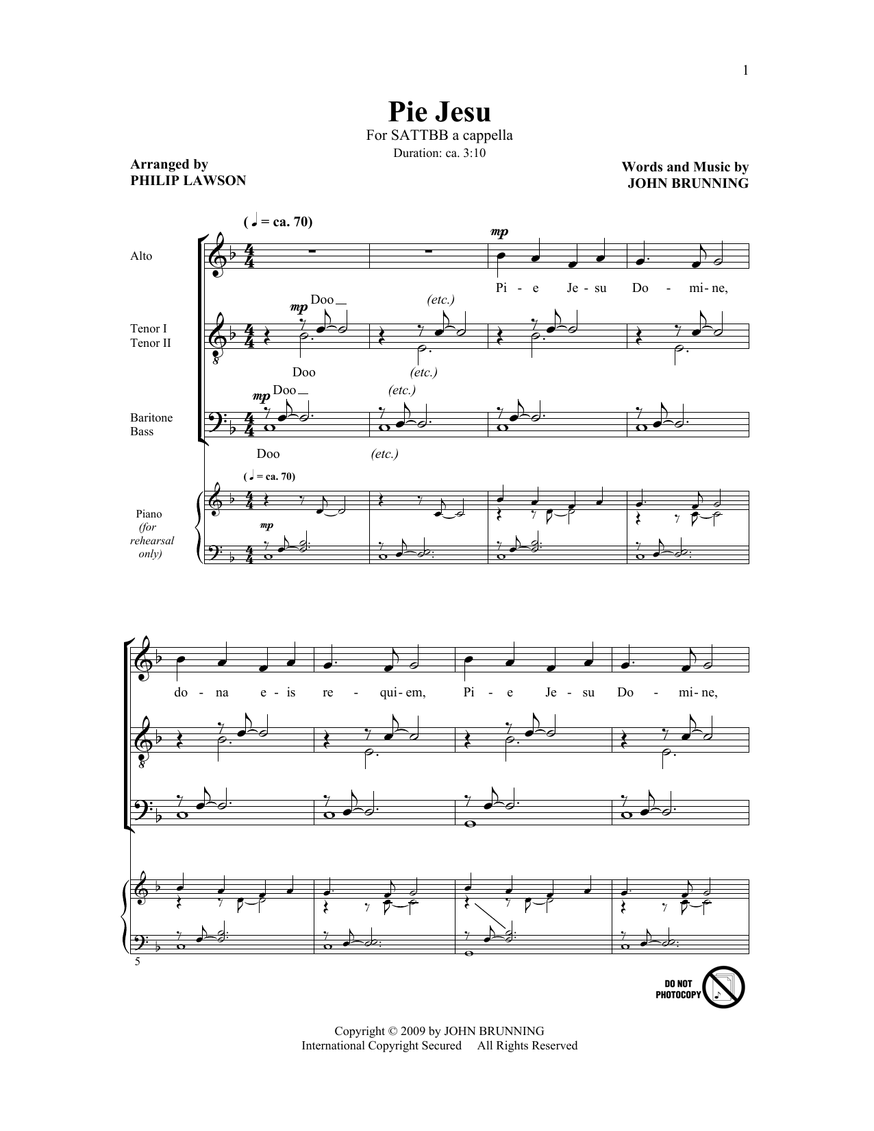 Pie Jesu (arr. Philip Lawson) Sheet Music