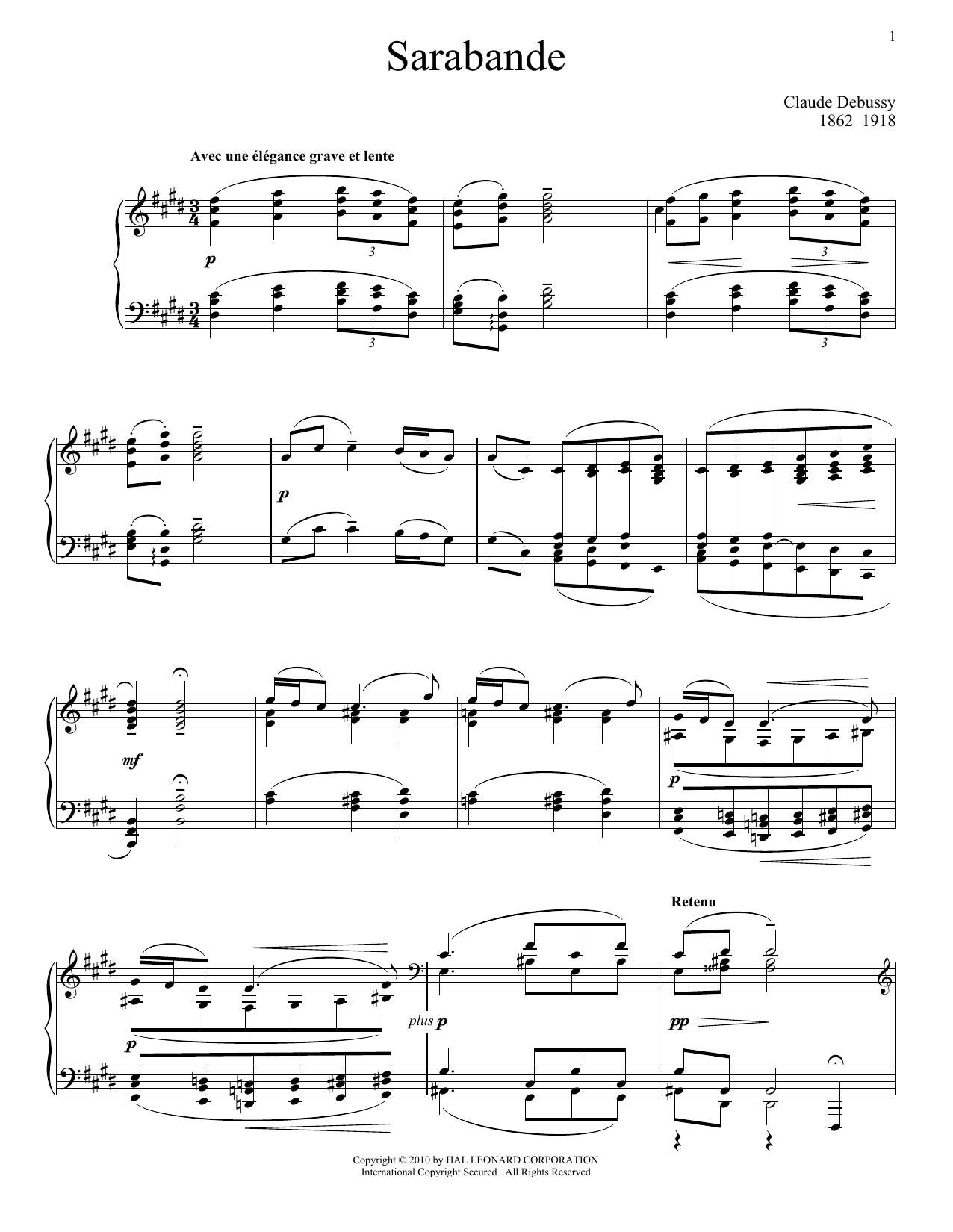 Sarabande, Pour Le Piano Sheet Music