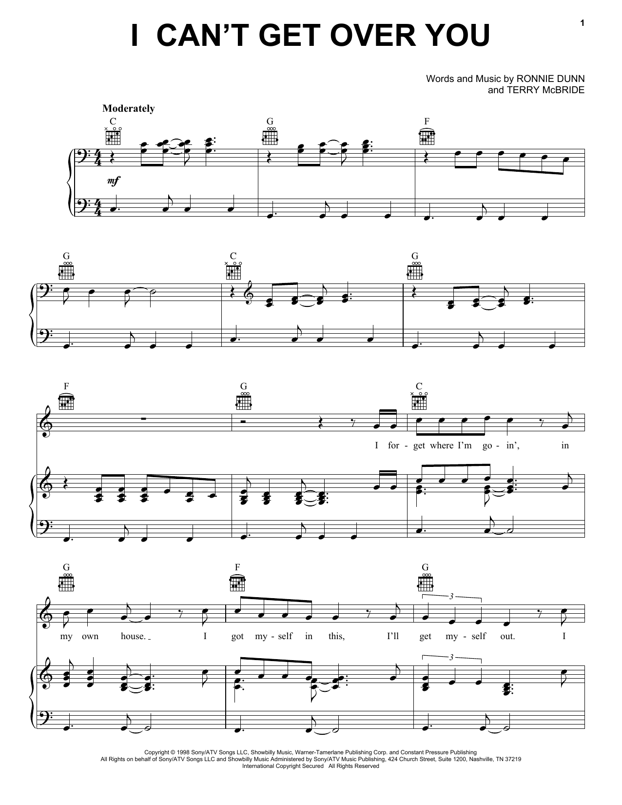 I Can't Get Over You (Piano, Vocal & Guitar (Right-Hand Melody))