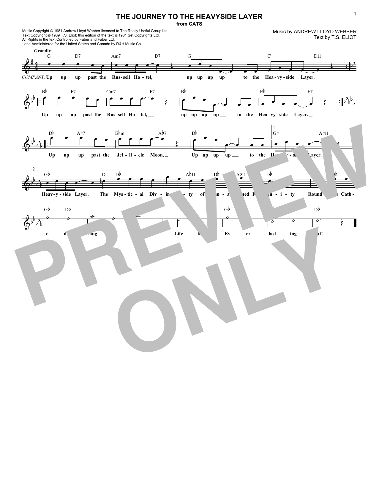 The Journey To The Heavyside Layer (from Cats) (Lead Sheet / Fake Book)