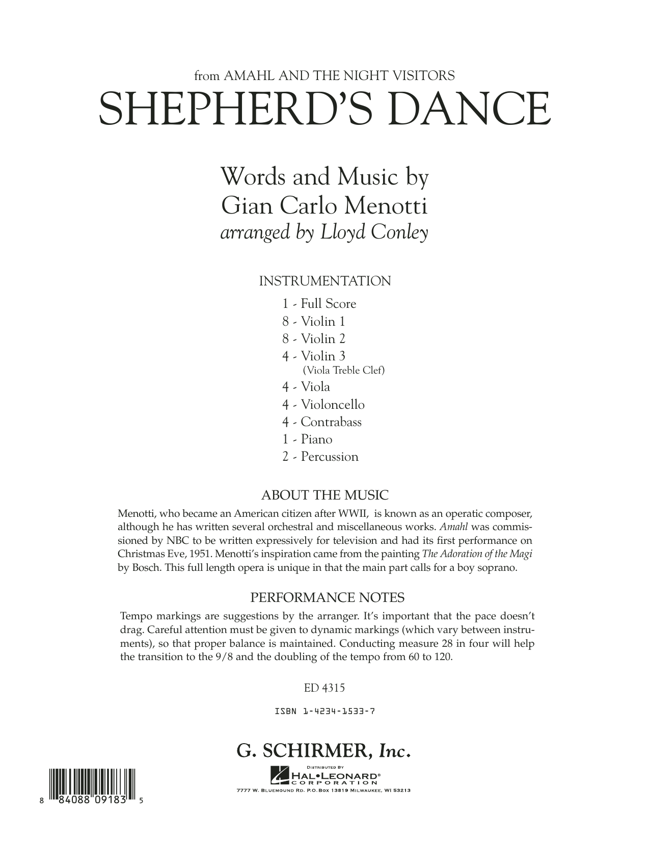 Shepherd's Dance (from Amahl and the Night Visitors) (COMPLETE) sheet music for orchestra by Gian Carlo Menotti and Lloyd Conley. Score Image Preview.