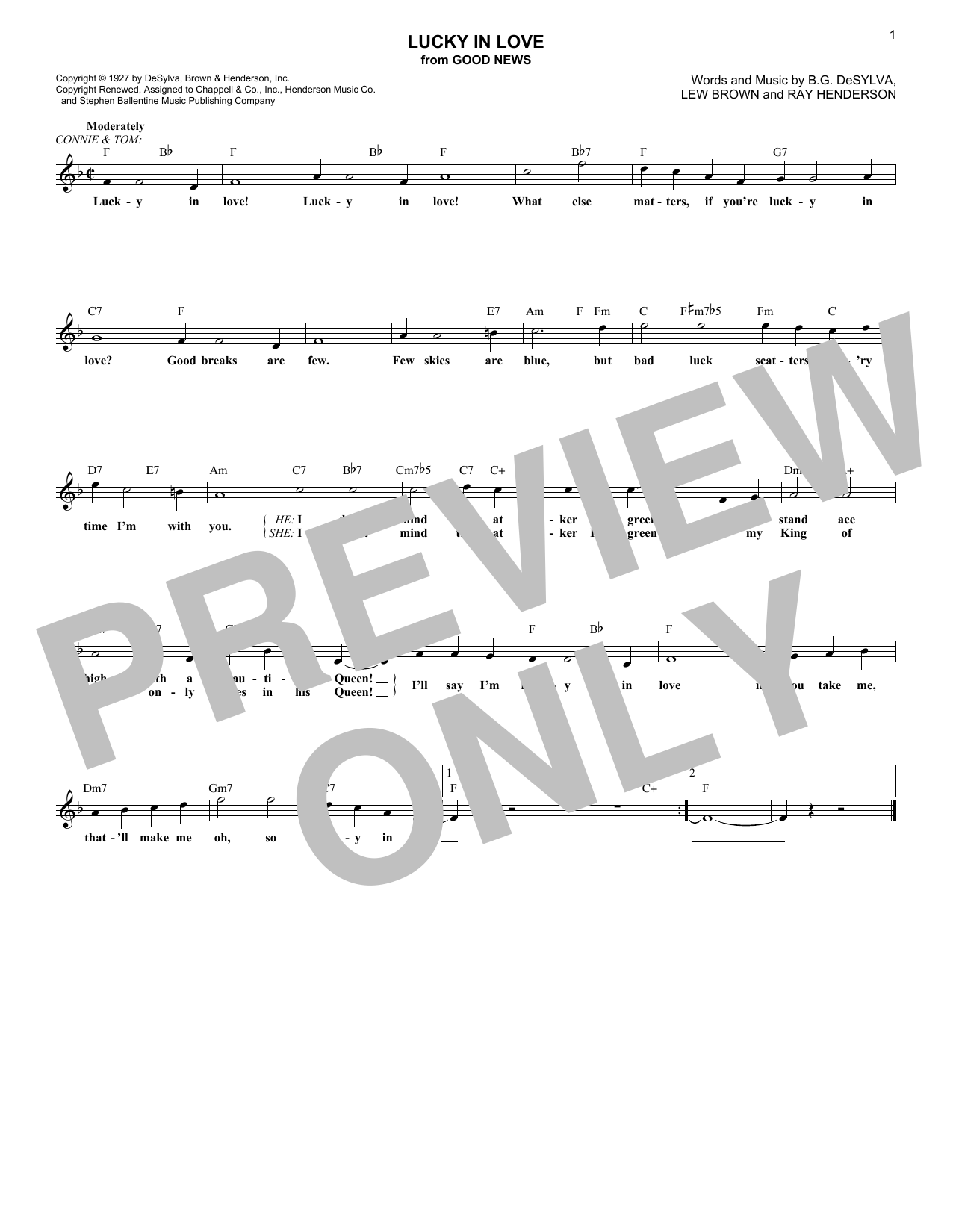 Lucky In Love (from Good News) (Lead Sheet / Fake Book)