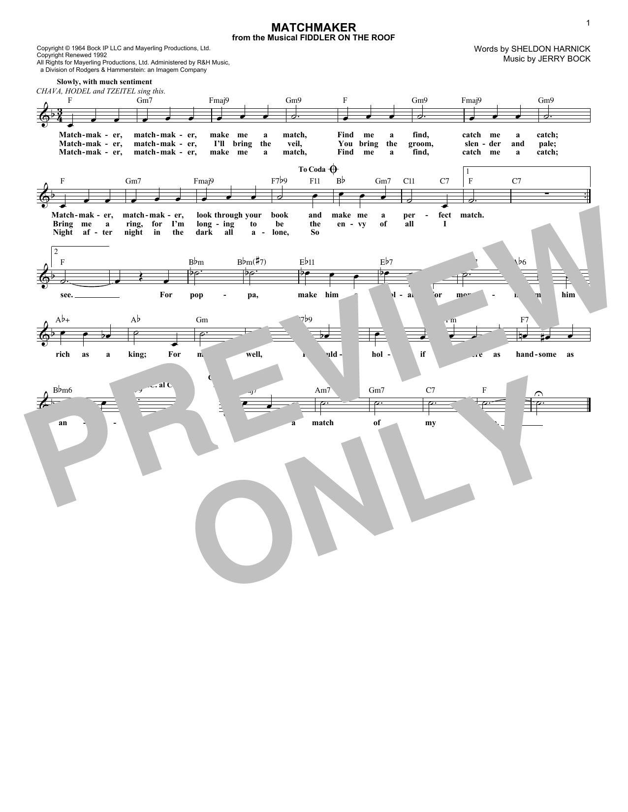 Matchmaker (from Fiddler On The Roof) (Lead Sheet / Fake Book)