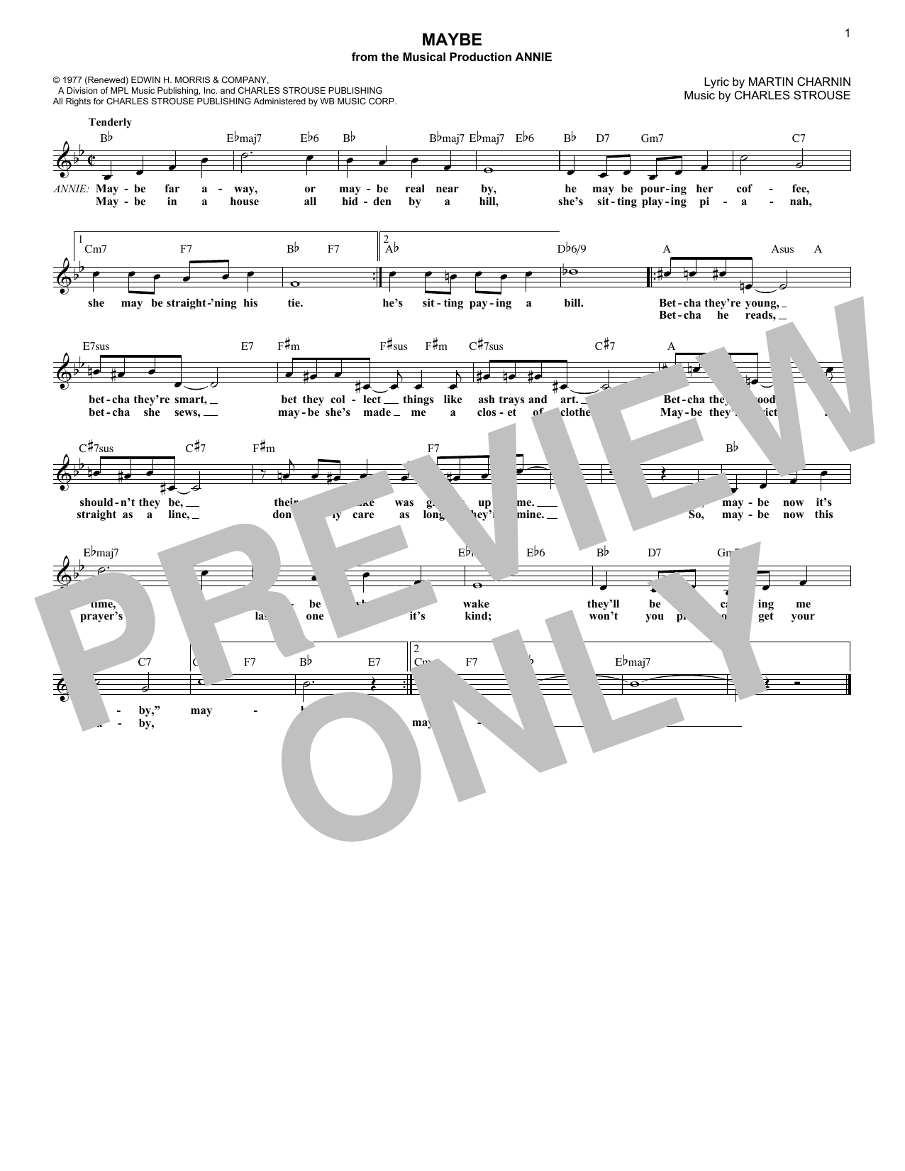 Maybe (from Annie) (Lead Sheet / Fake Book)