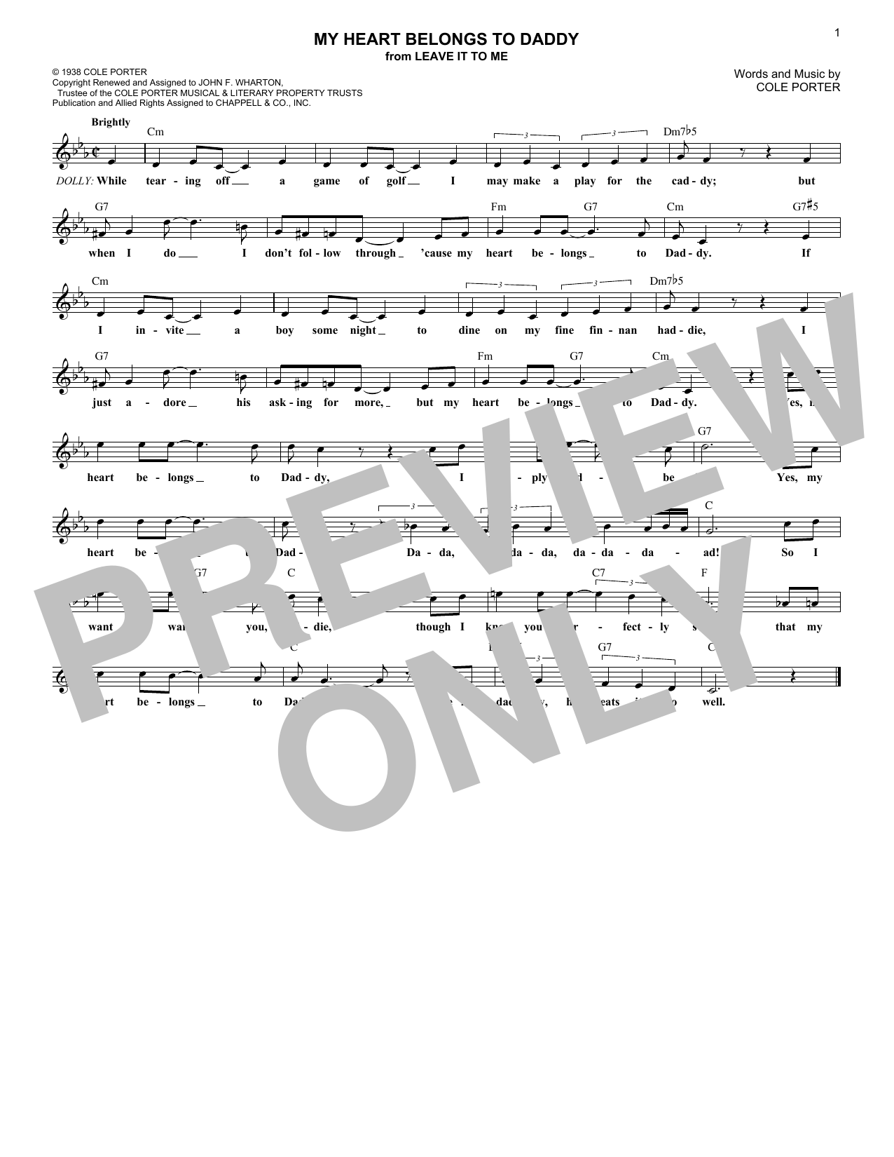 My Heart Belongs To Daddy (Lead Sheet / Fake Book)