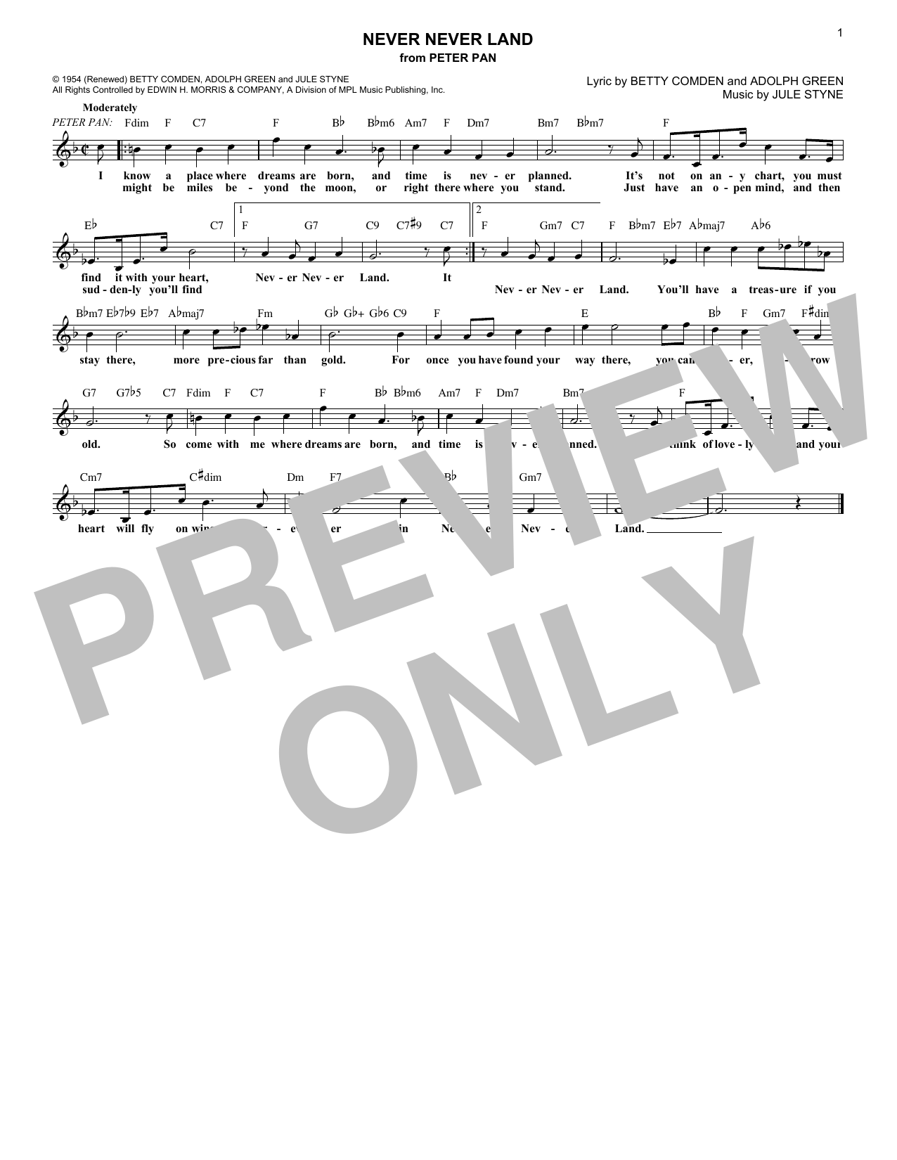 Never Never Land (from Peter Pan) (Lead Sheet / Fake Book)