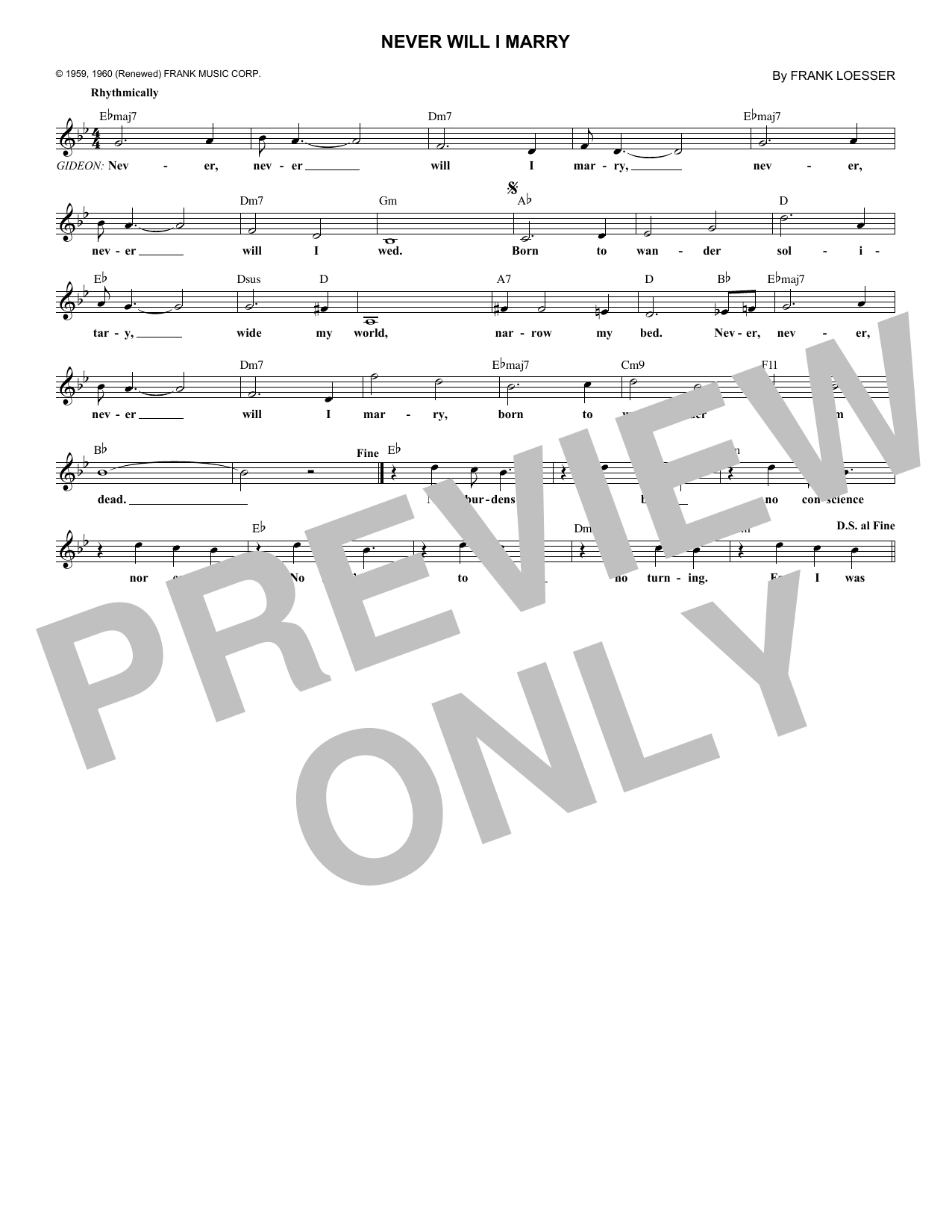 Never Will I Marry (Lead Sheet / Fake Book)