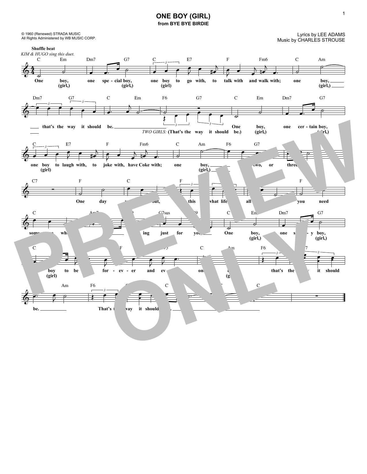 One Boy (Girl) (from Bye Bye Birdie) (Lead Sheet / Fake Book)