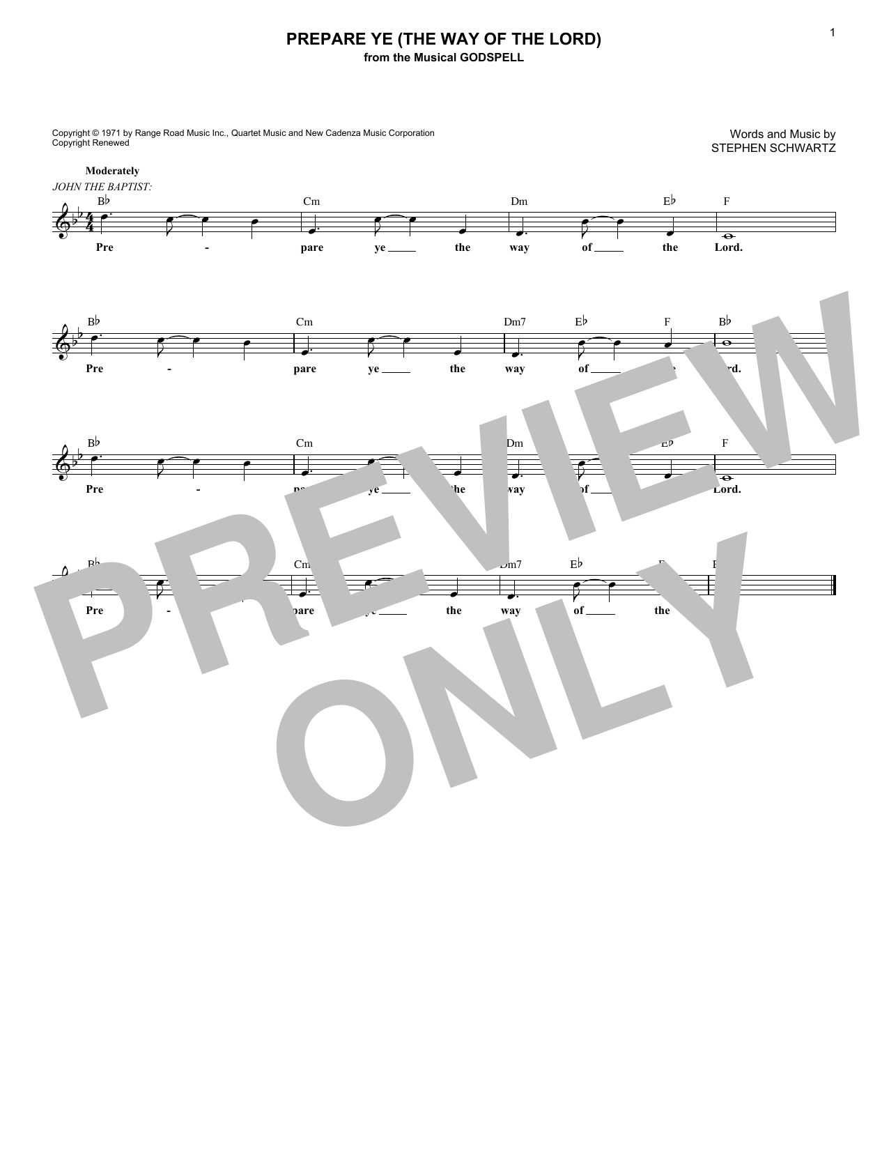 Prepare Ye (The Way Of The Lord) Sheet Music