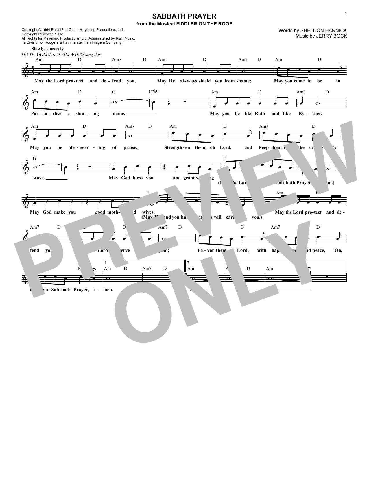 Sabbath Prayer (Lead Sheet / Fake Book)