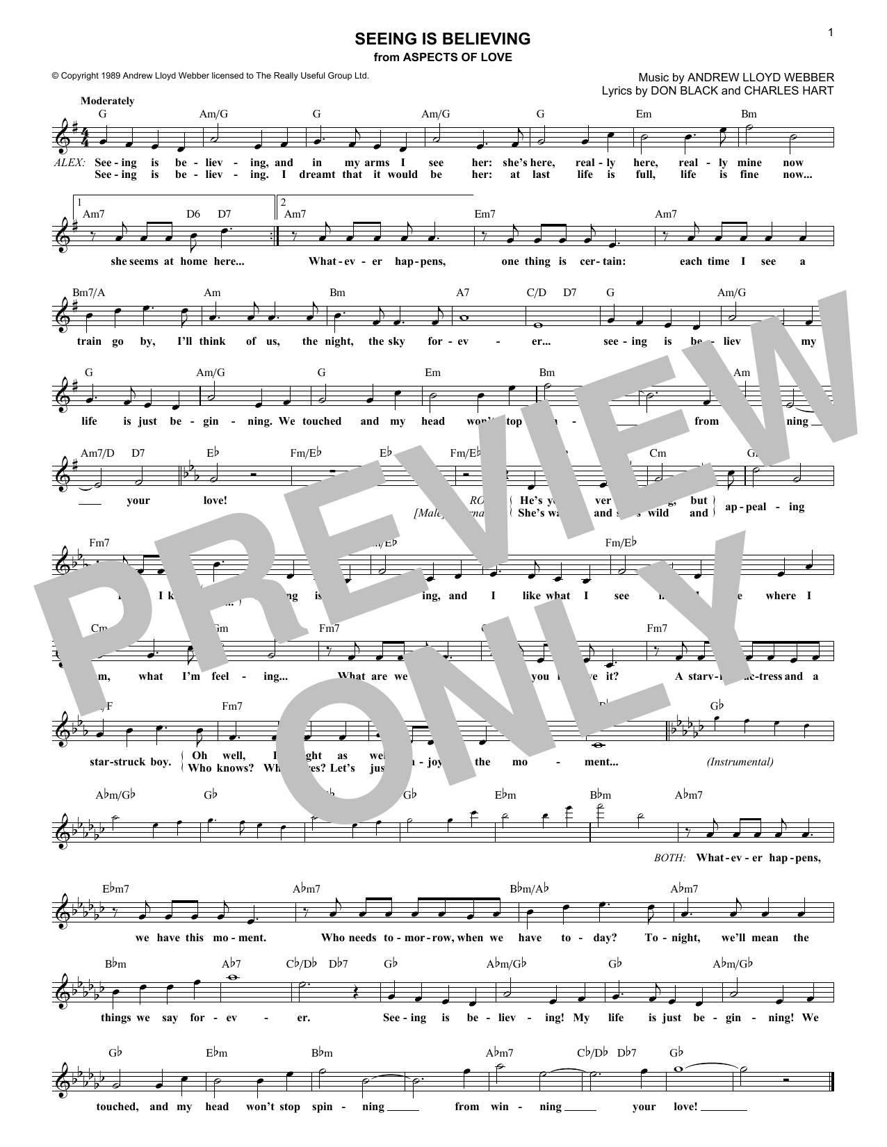 Seeing Is Believing (from Aspects of Love) (Lead Sheet / Fake Book)