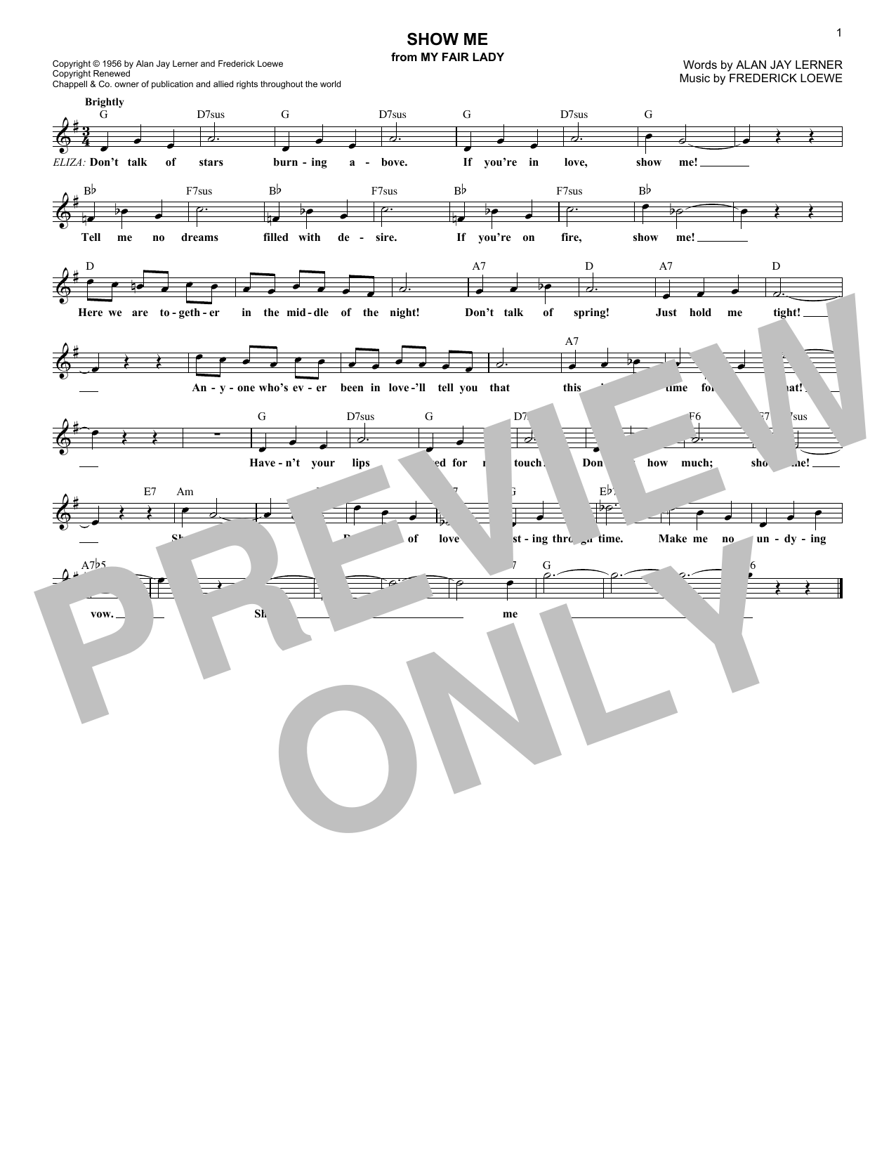 Show Me (from My Fair Lady) (Lead Sheet / Fake Book)