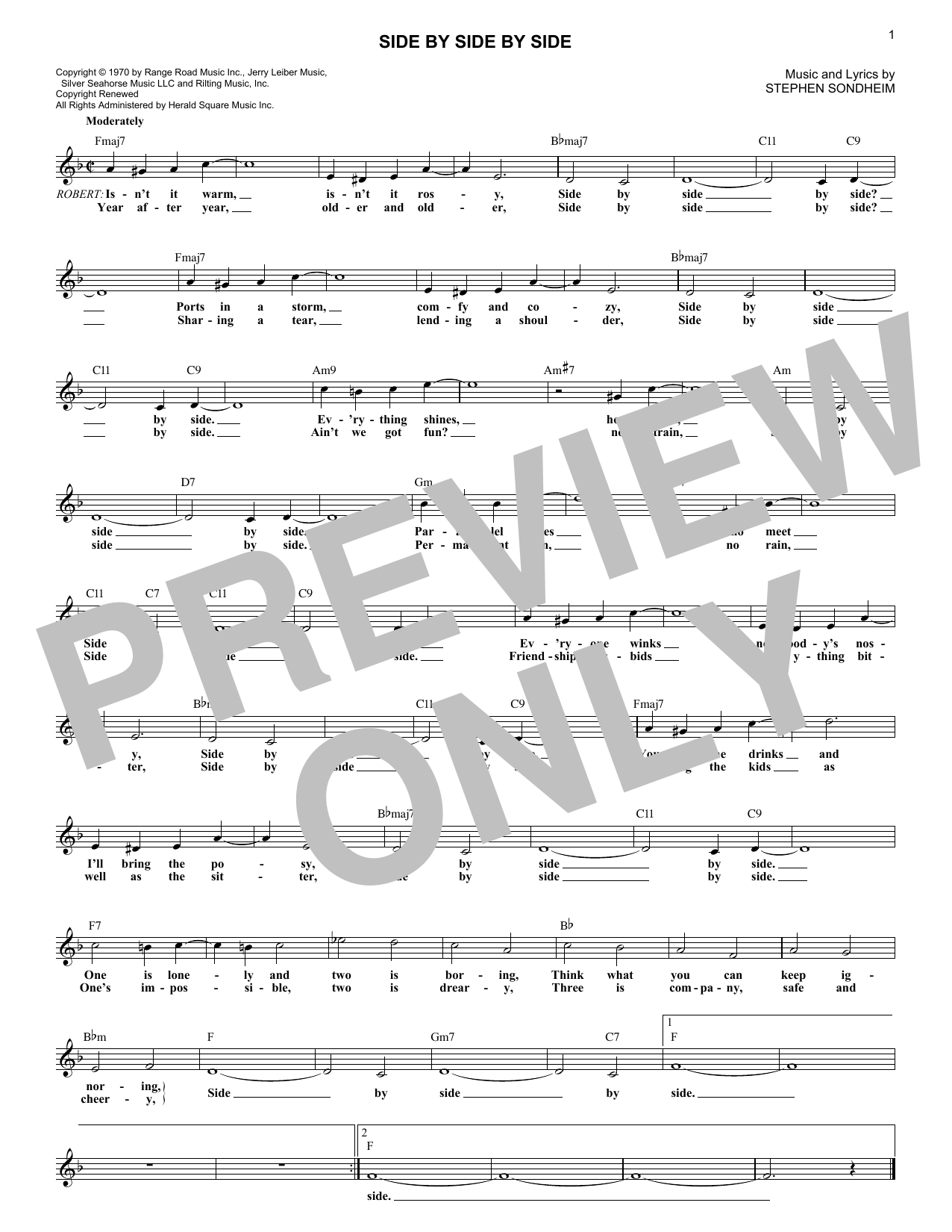 Side By Side By Side (from Company) (Lead Sheet / Fake Book)