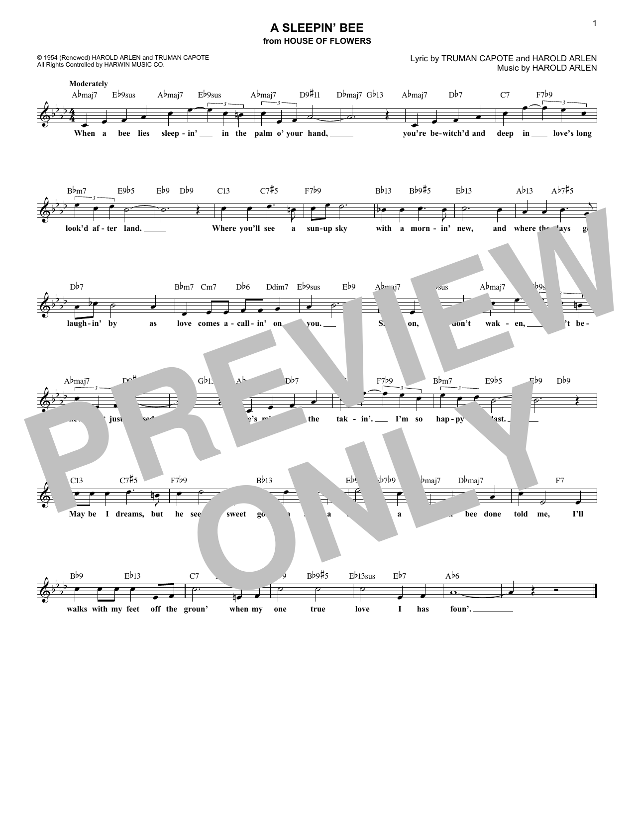 A Sleepin' Bee (Lead Sheet / Fake Book)