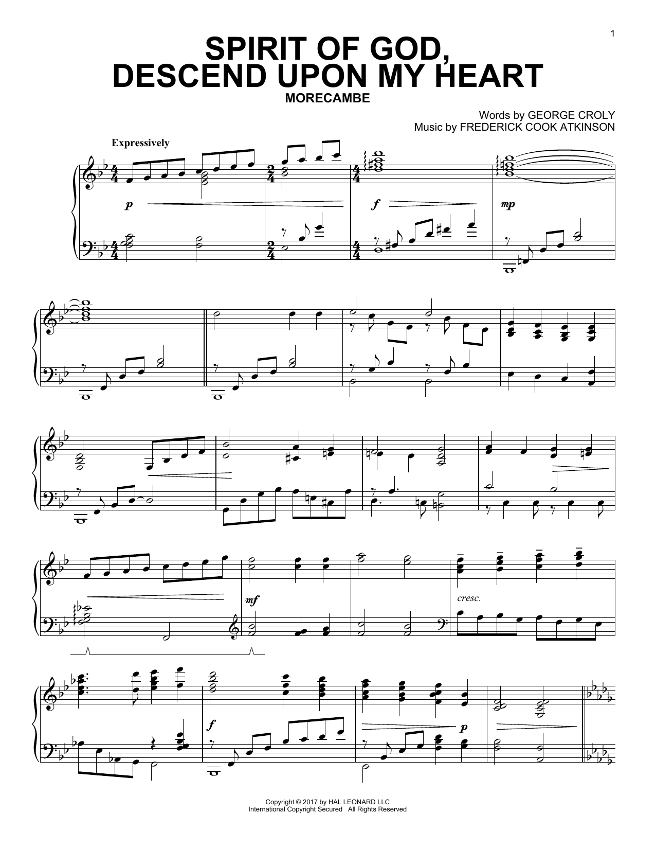Spirit Of God, Descend Upon My Heart (Piano Solo)