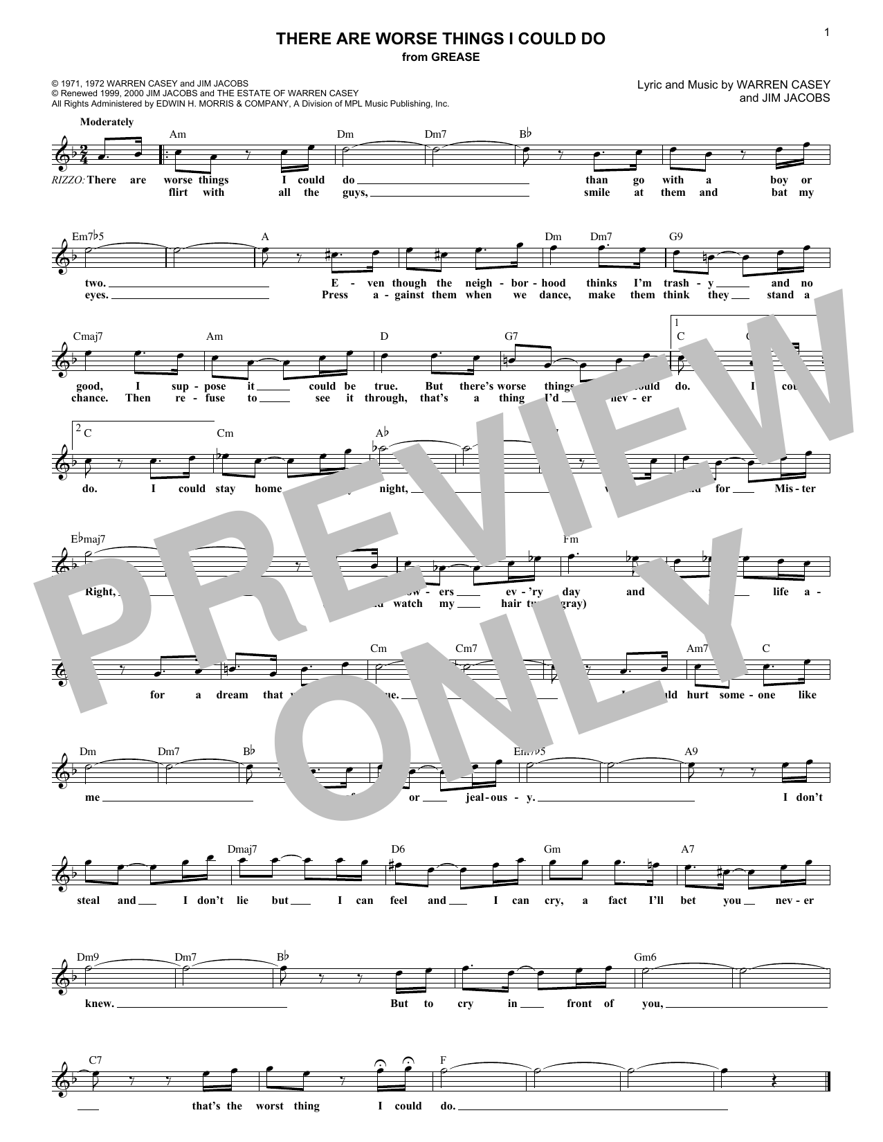 There Are Worse Things I Could Do (from Grease) (Lead Sheet / Fake Book)