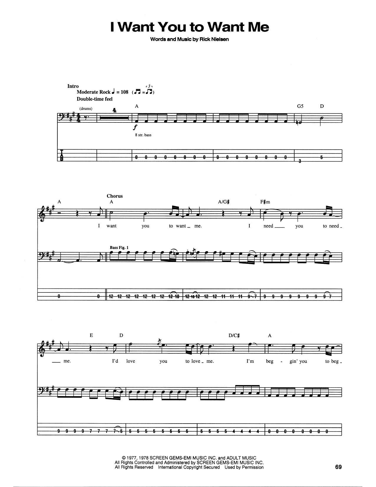 I Want You To Want Me (Bass Guitar Tab)