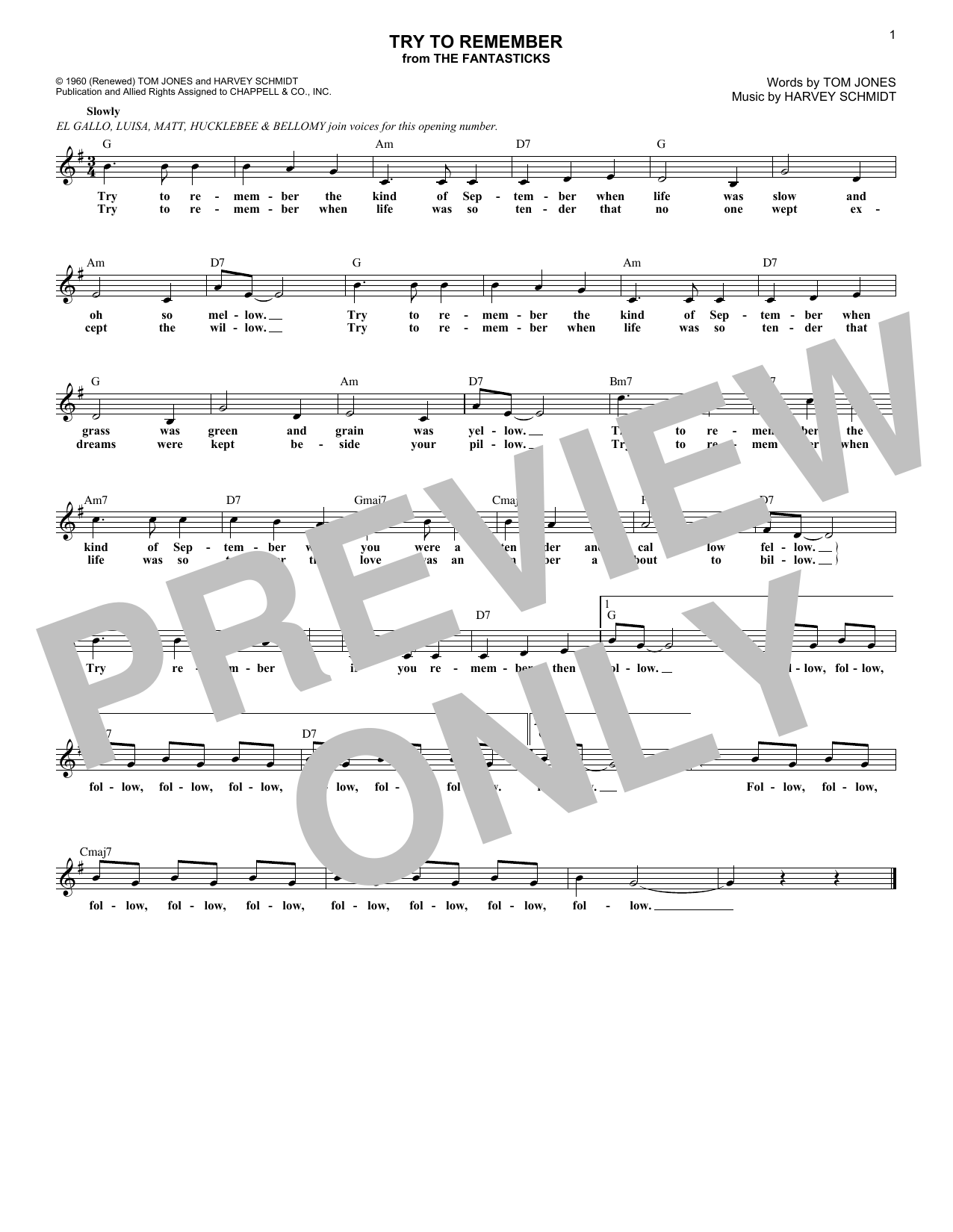 Try To Remember (Lead Sheet / Fake Book)