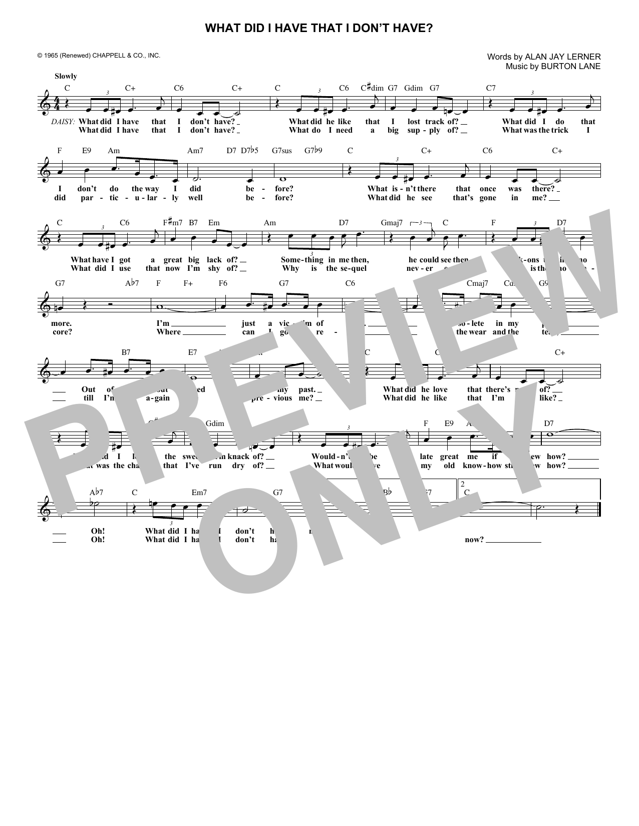 What Did I Have That I Don't Have? (from On A Clear Day You Can See Forever) (Lead Sheet / Fake Book)