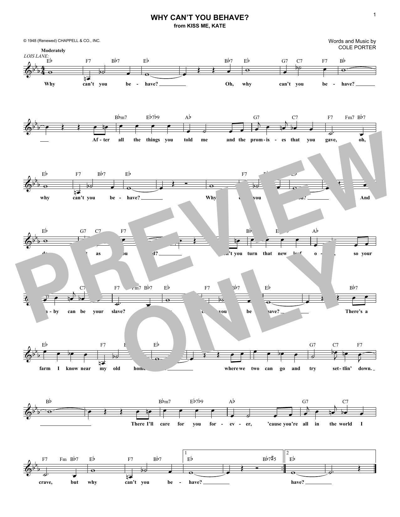 Why Can't You Behave? (from Kiss Me, Kate) (Lead Sheet / Fake Book)