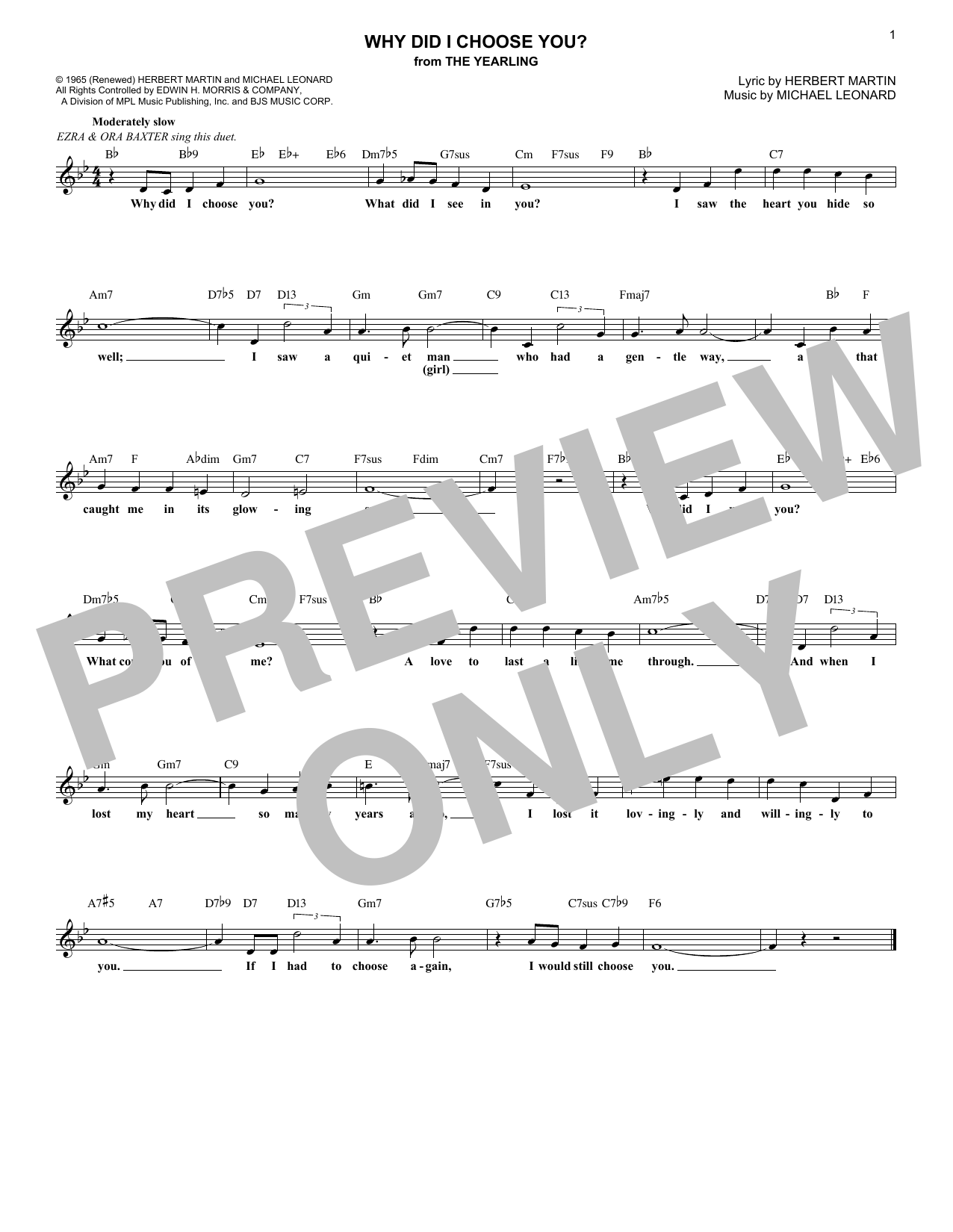 Why Did I Choose You? (from The Yearling) (Lead Sheet / Fake Book)