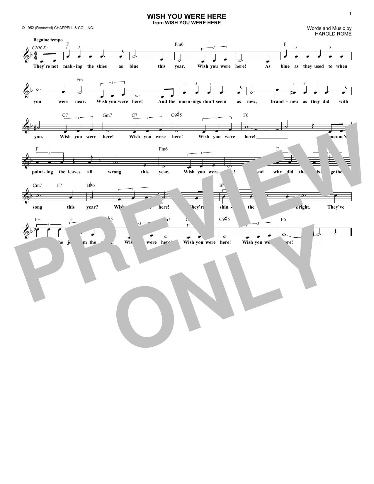 Wish You Were Here (Lead Sheet / Fake Book) - Print Sheet Music Now