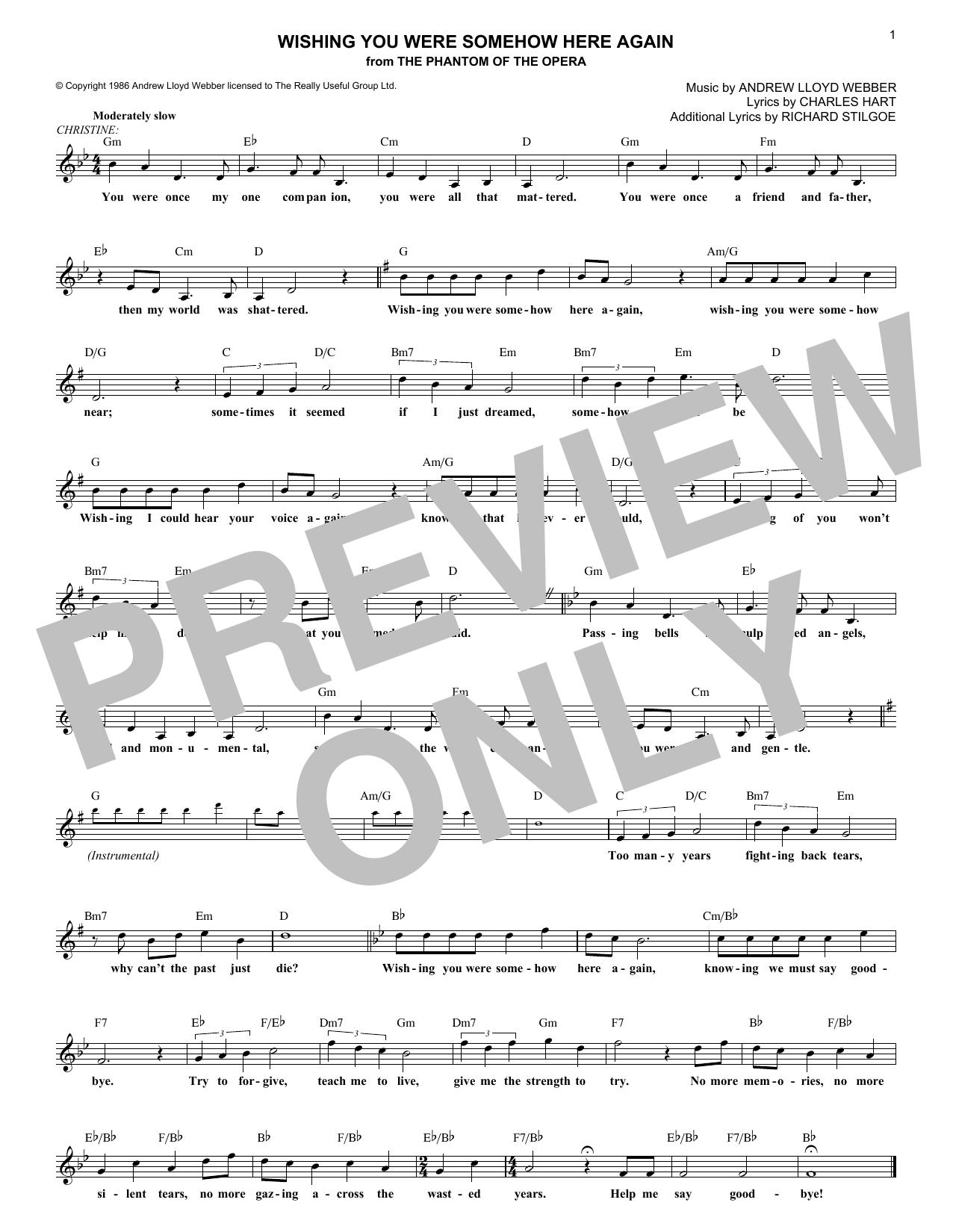 Wishing You Were Somehow Here Again (from The Phantom Of The Opera) (Lead Sheet / Fake Book)