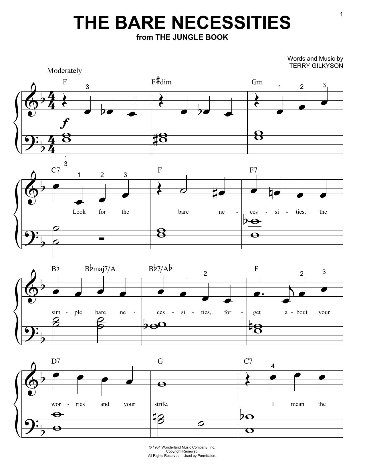The Bare Necessities (Big Note Piano)