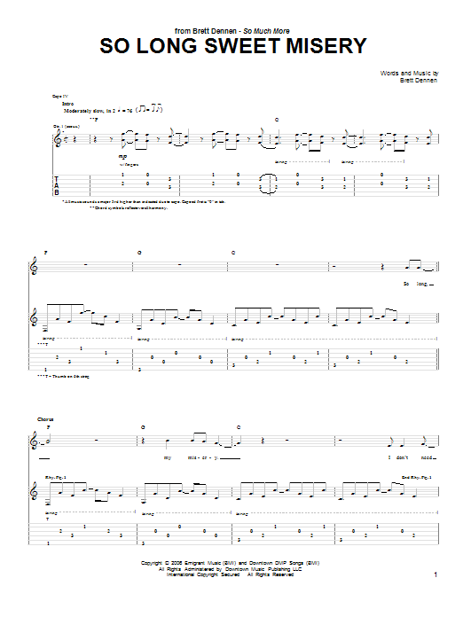 So Long Sweet Misery Sheet Music