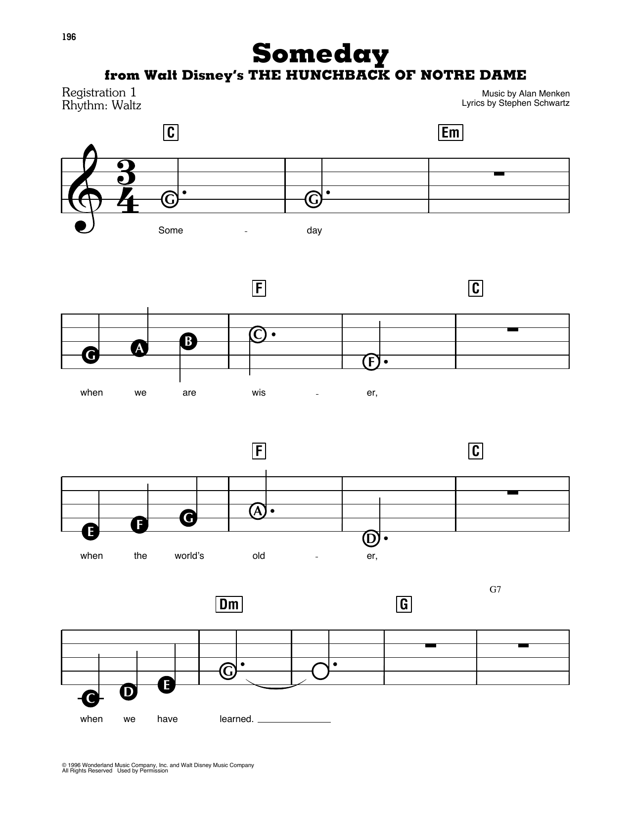 Someday (from Walt Disney's The Hunchback Of Notre Dame) Sheet Music