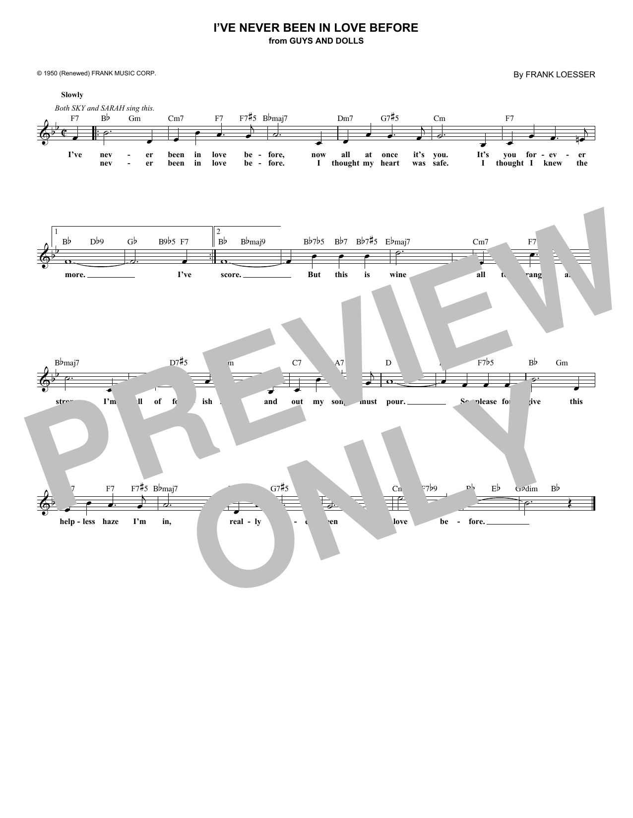 I've Never Been In Love Before (Lead Sheet / Fake Book)