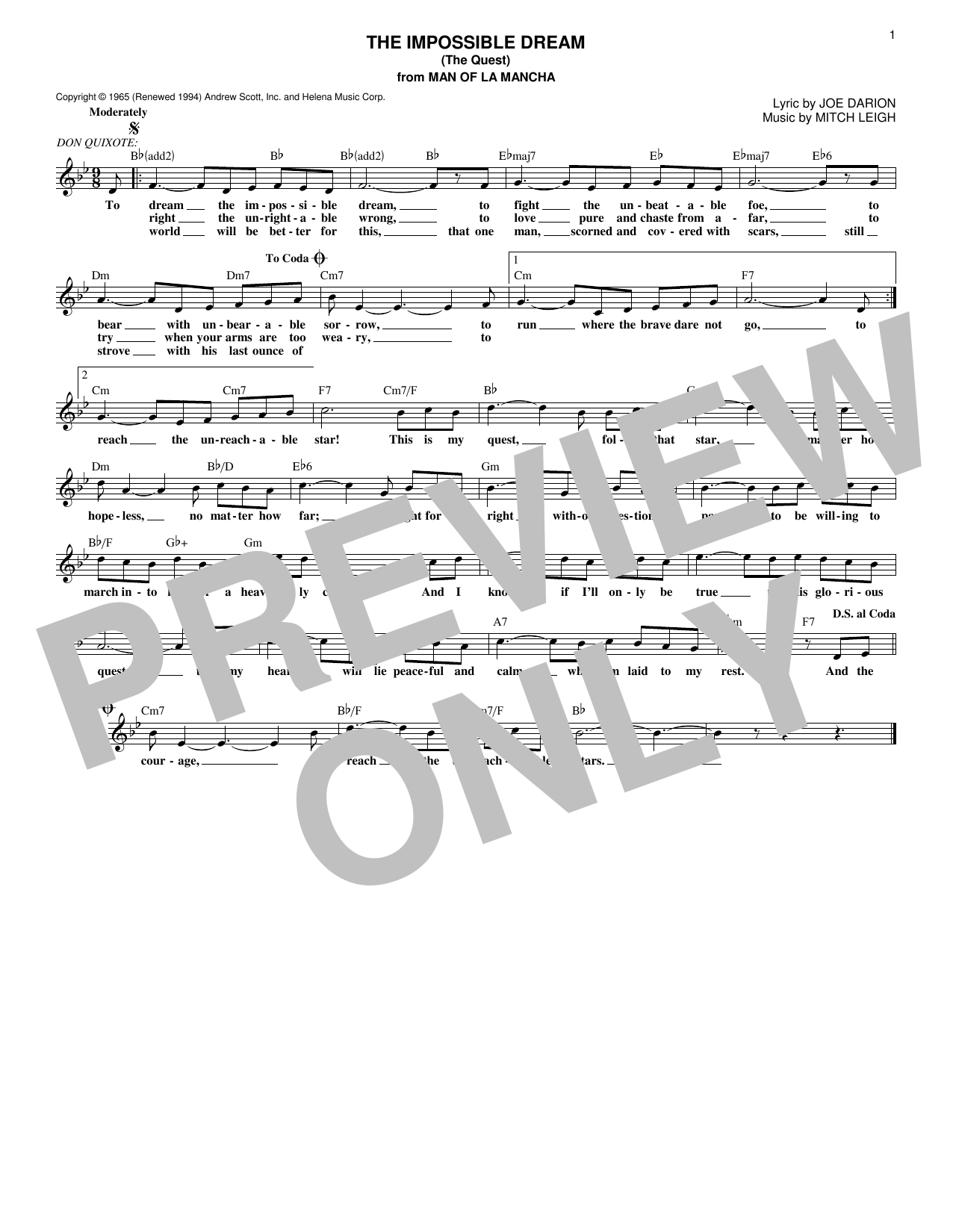 The Impossible Dream (The Quest) (Lead Sheet / Fake Book)