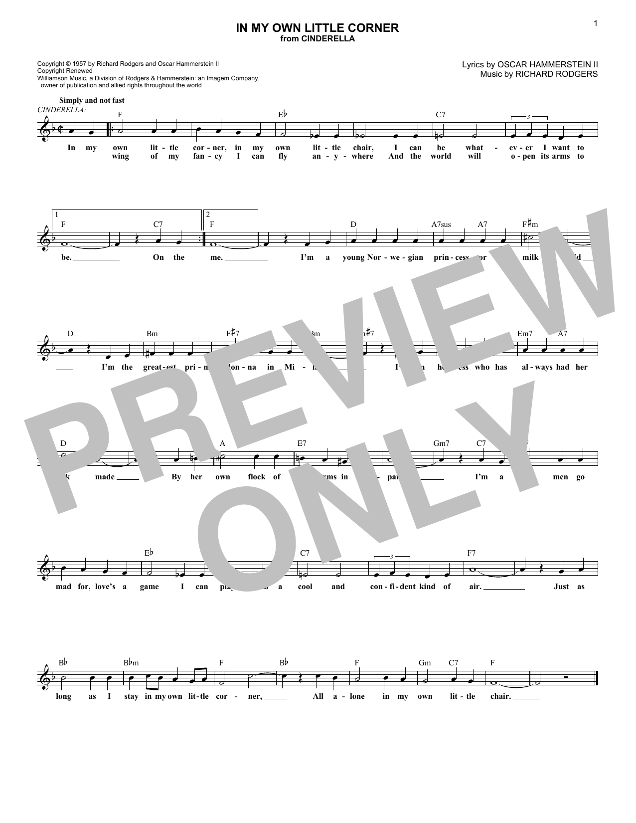 In My Own Little Corner (from Cinderella the Musical) (Lead Sheet / Fake Book)
