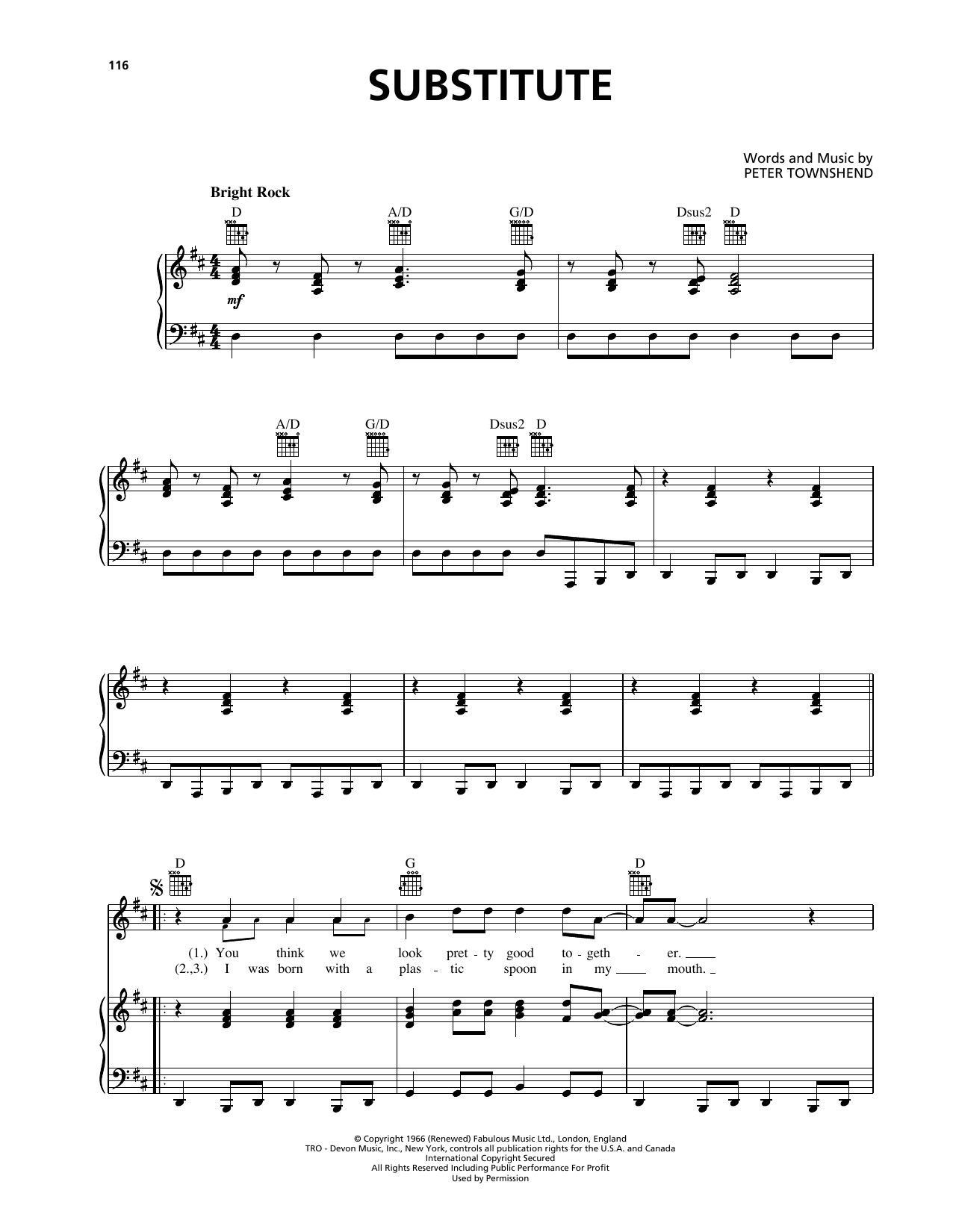 Substitute (Piano, Vocal & Guitar (Right-Hand Melody))