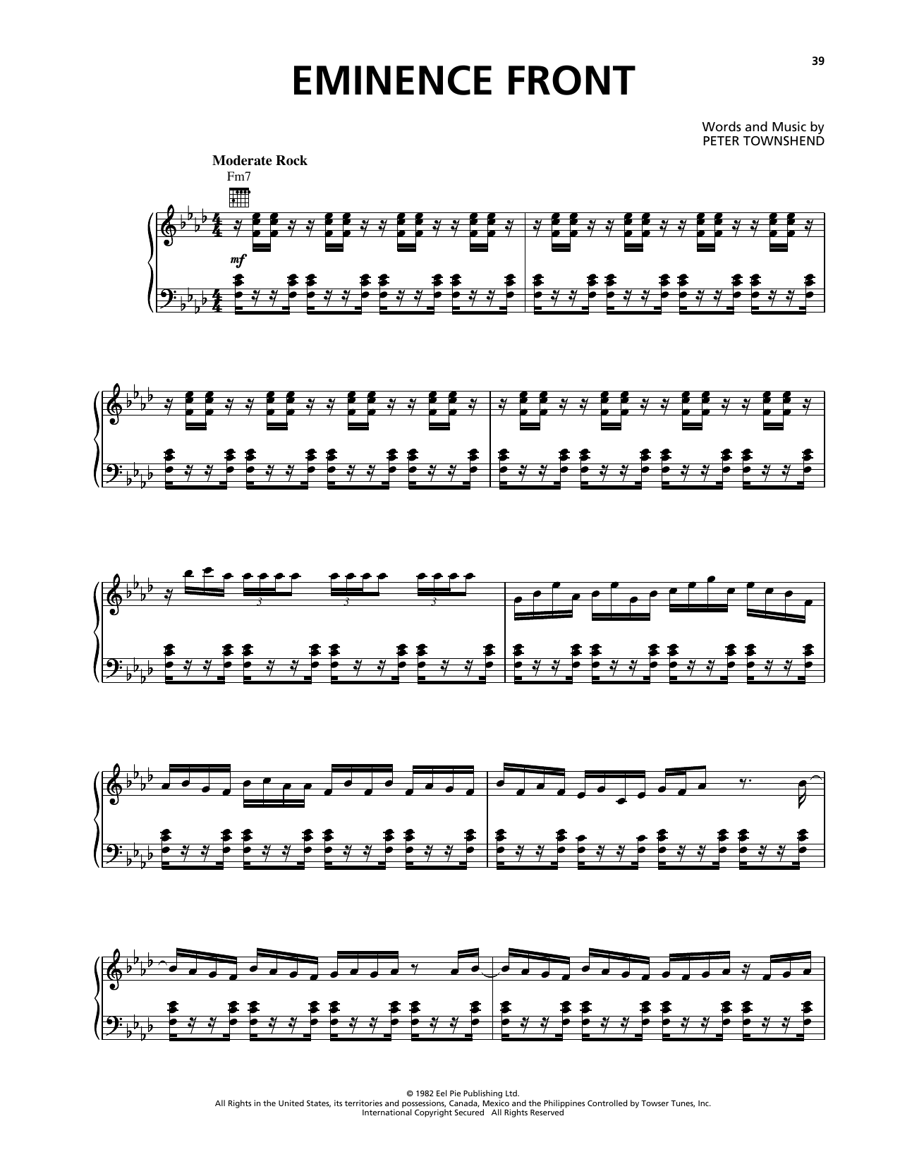 Eminence Front (Piano, Vocal & Guitar (Right-Hand Melody))