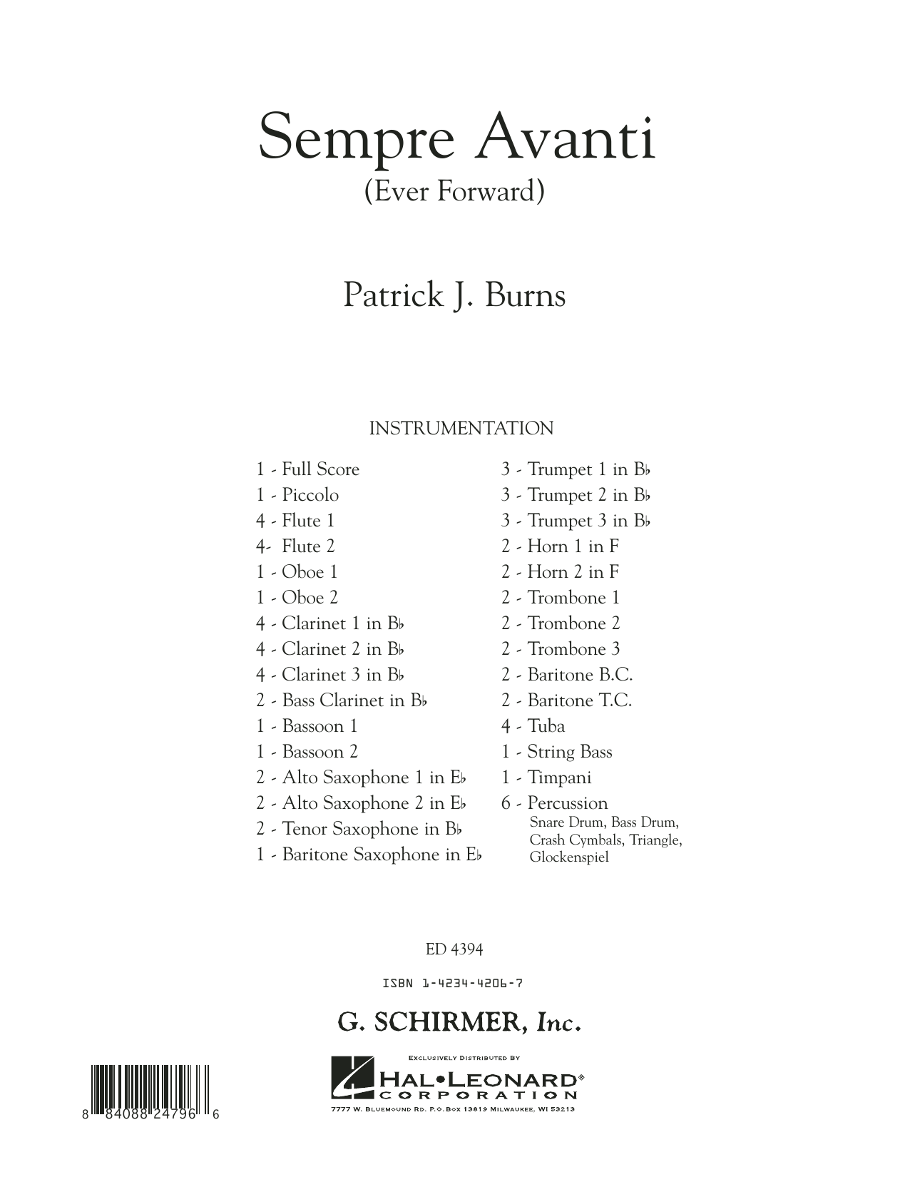 Sempre Avanti (COMPLETE) sheet music for concert band by Patrick J. Burns. Score Image Preview.