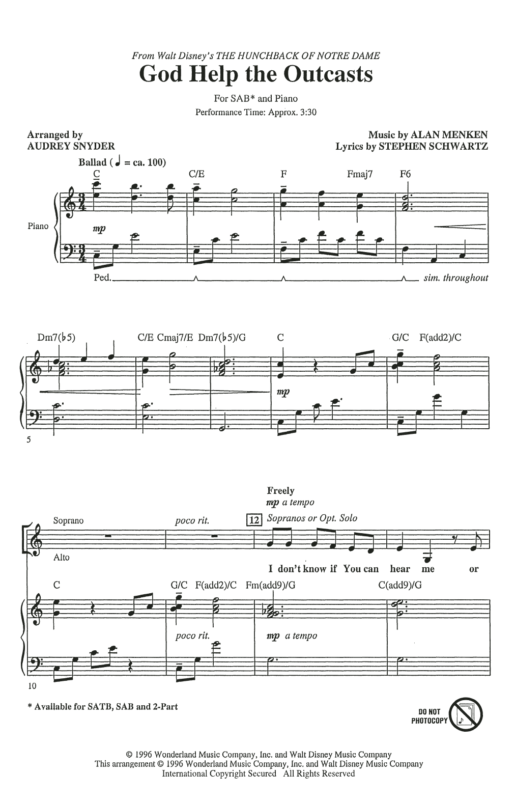 God Help The Outcasts (from The Hunchback Of Notre Dame) (arr. Audrey Snyder) (SAB Choir)