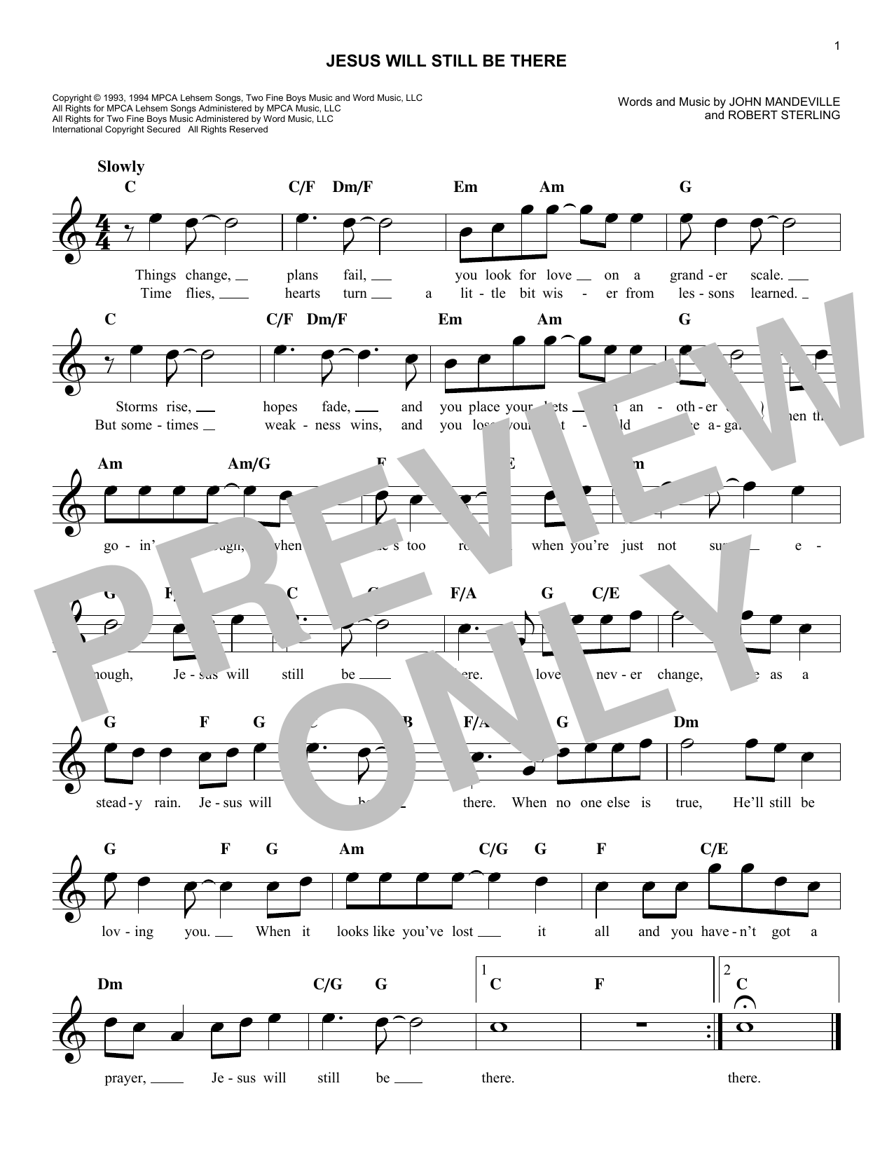 Jesus Will Still Be There (Lead Sheet / Fake Book)