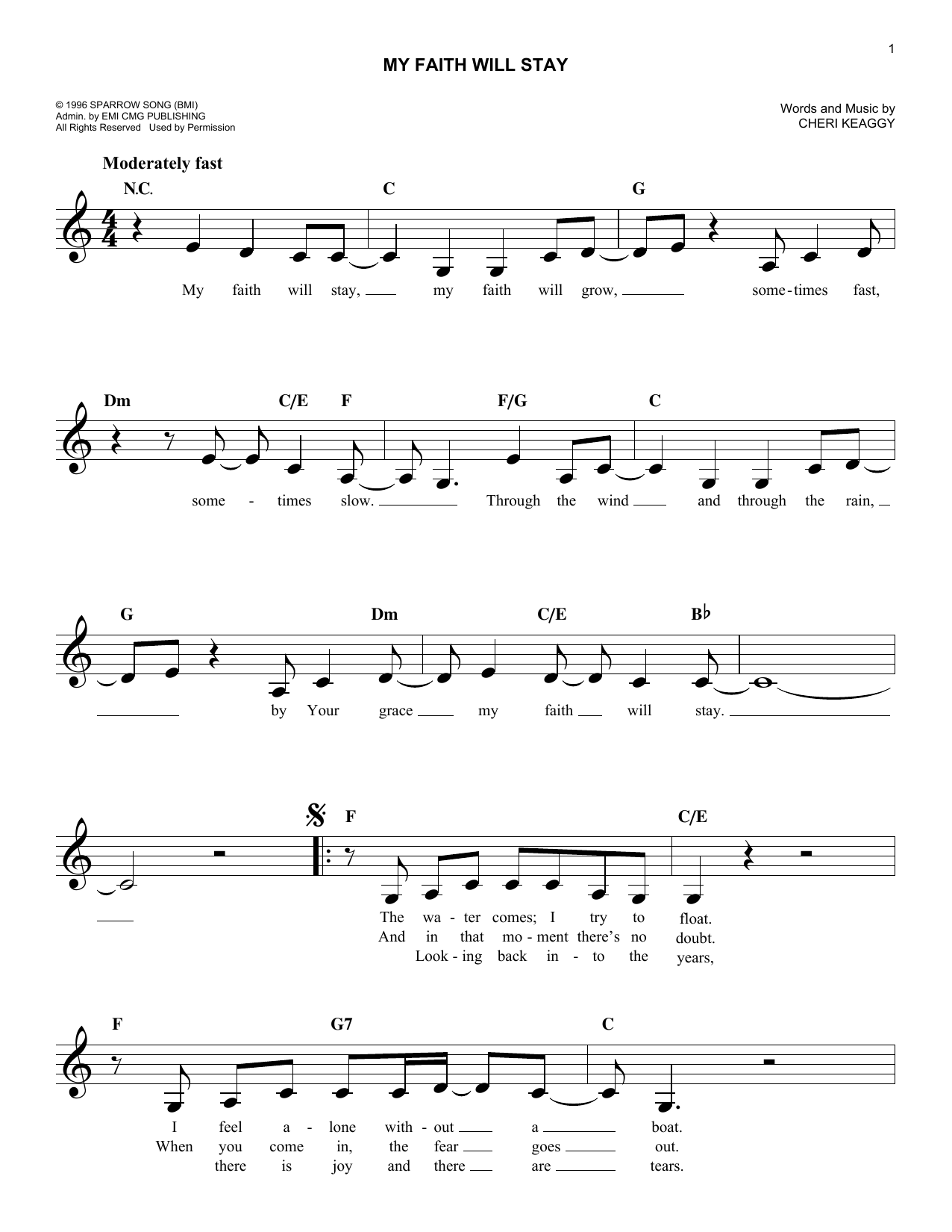 My Faith Will Stay (Lead Sheet / Fake Book)