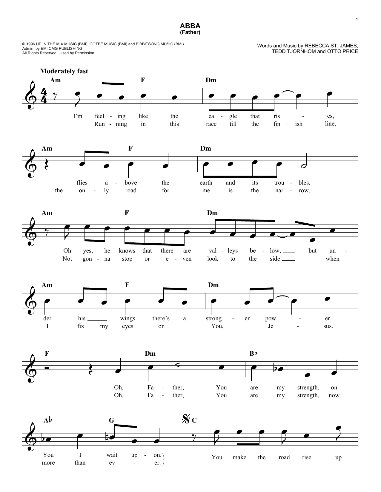 Abba (Father) (Lead Sheet / Fake Book)