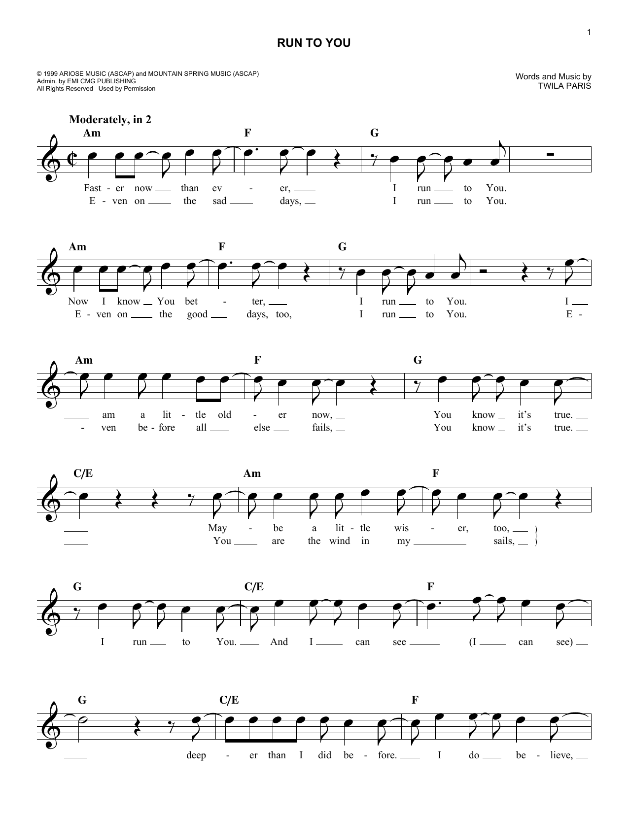 Run To You (Lead Sheet / Fake Book)