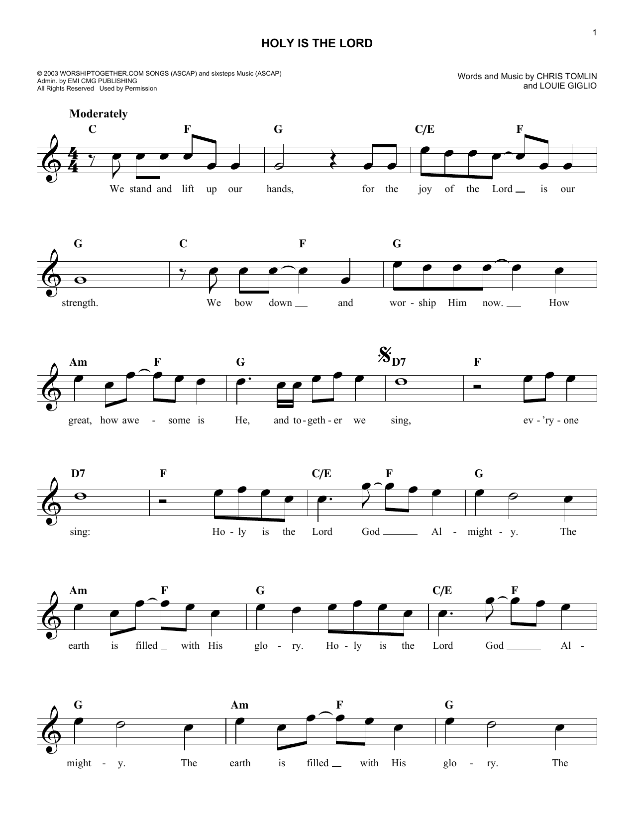 Holy Is The Lord (Lead Sheet / Fake Book)