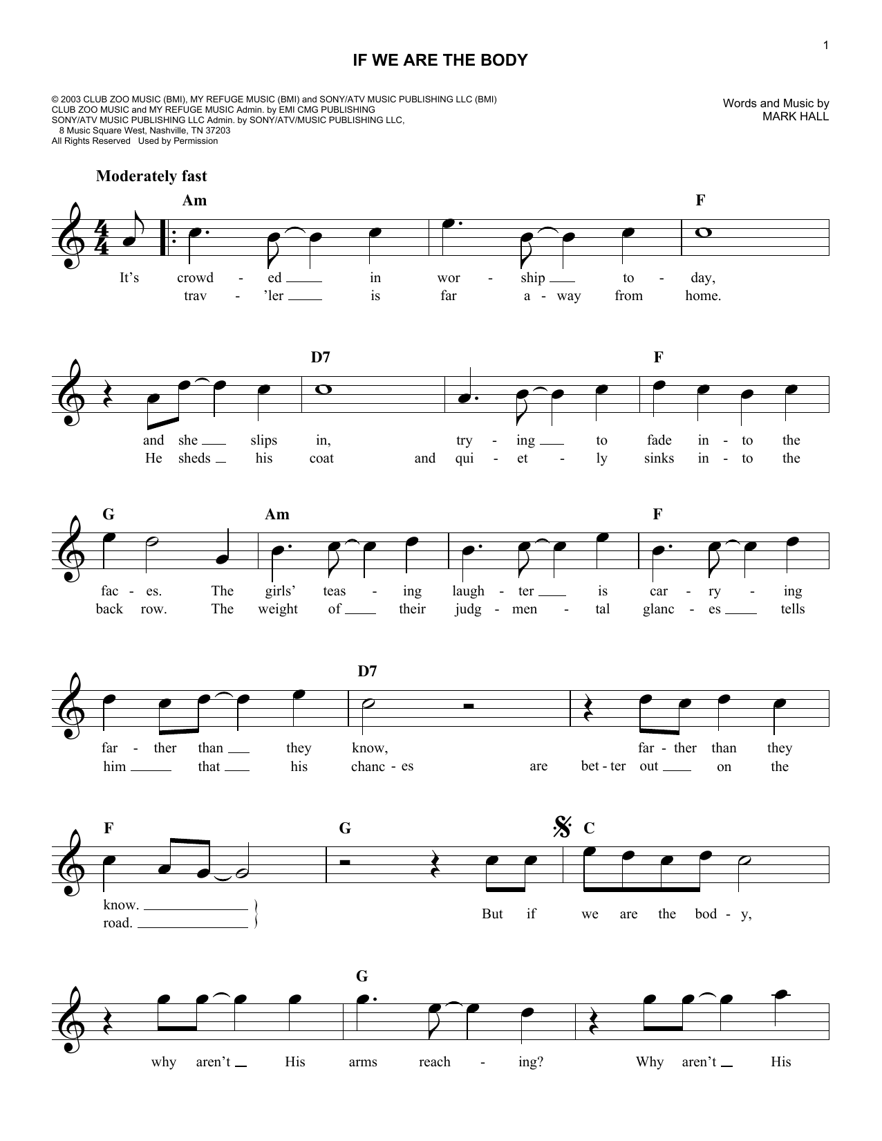 If We Are The Body Sheet Music