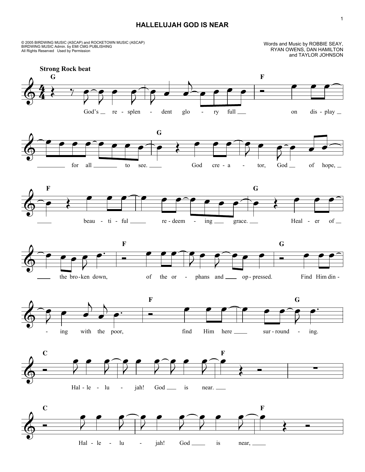 Hallelujah God Is Near (Lead Sheet / Fake Book)