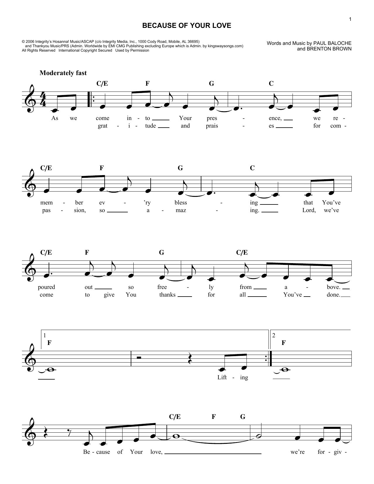 Because Of Your Love (Lead Sheet / Fake Book)